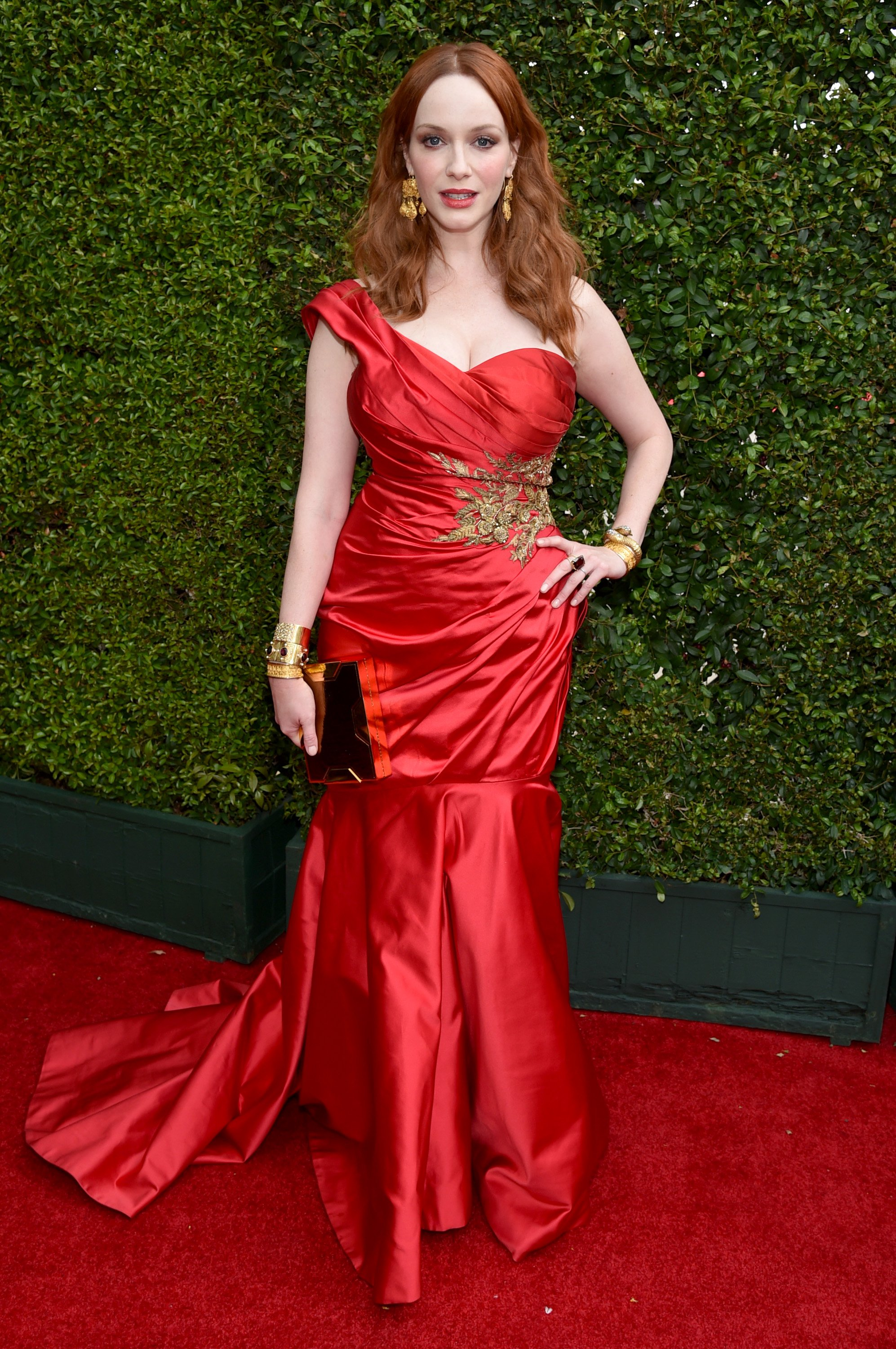 Christina Hendricks arrives at the 66th Primetime Emmy Awards at the Nokia Theatre L.A. Live on Monday, Aug. 25, 2014, in Los Angeles.