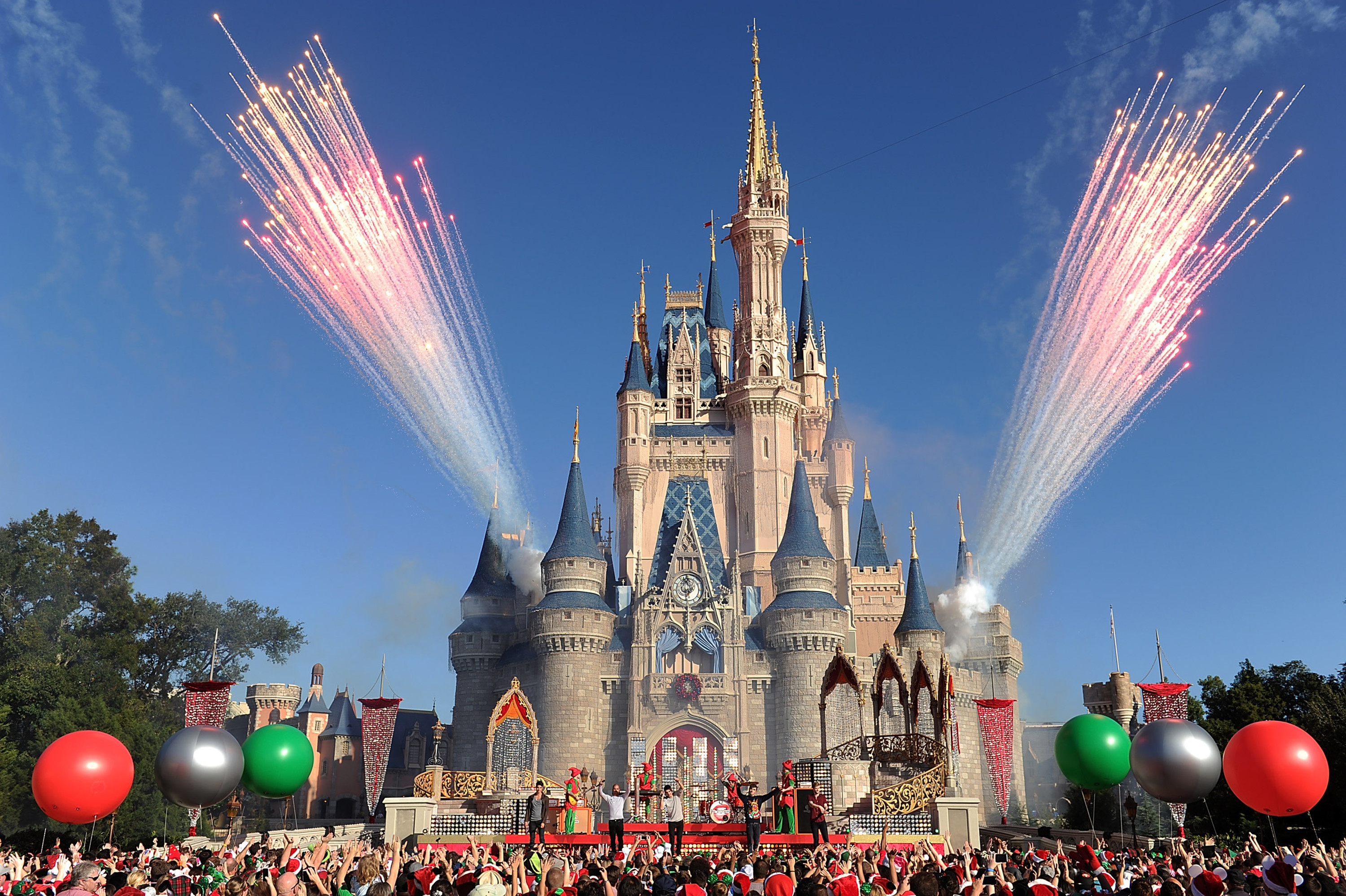 The Wanted performs at the Magic Kingdom park at Walt Disney World Resort in Lake Buena Vista, Florida on Dec. 6, 2013.