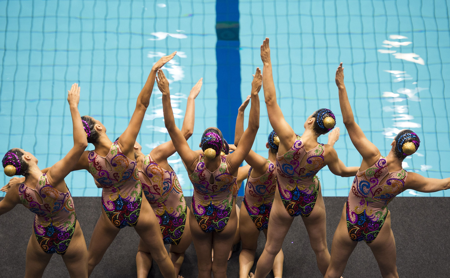 The Spain team performs their teams technical routine in the synchronized swimming event of the 32nd LEN European Swimming Championships on August 13, 2014 in Berlin.