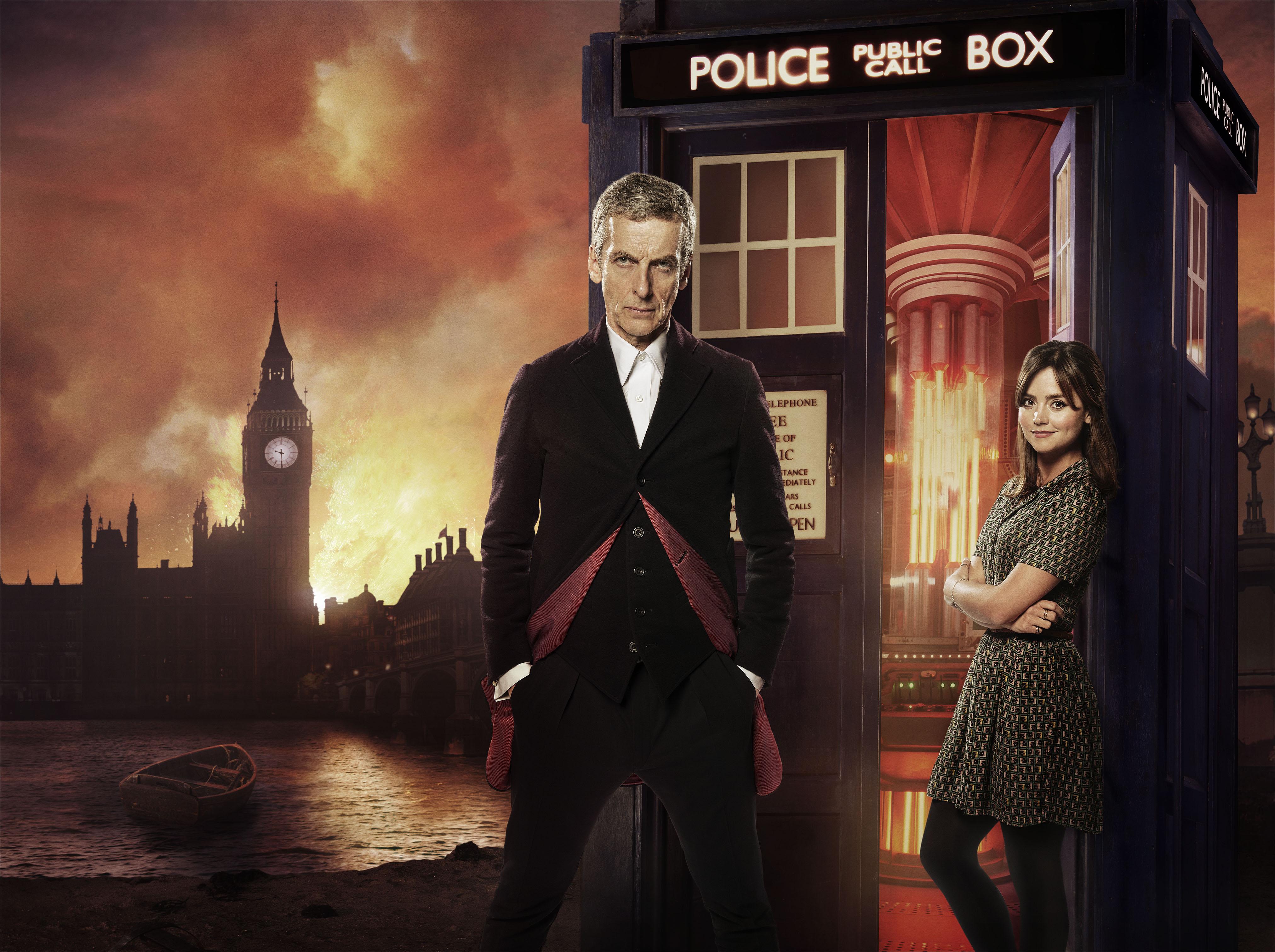 Peter Capaldi as The Doctor and Jenna Coleman as Clara