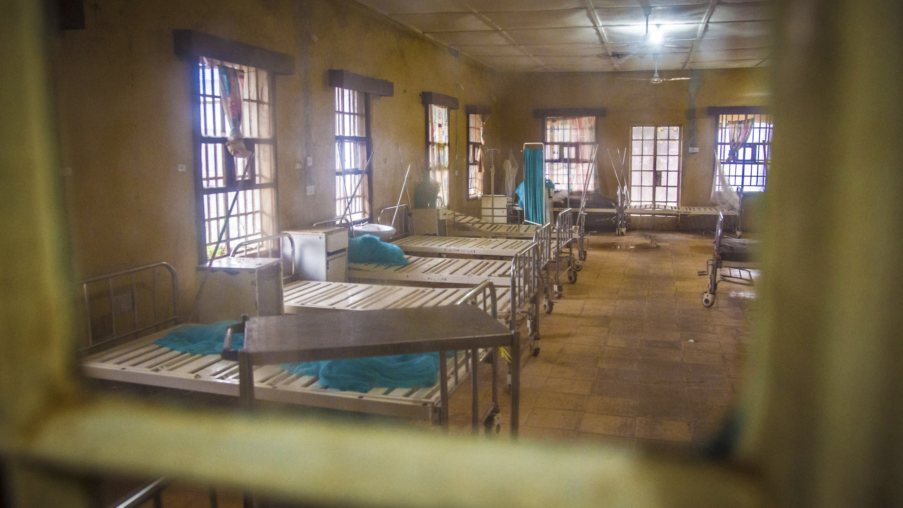 An empty ward after patients left while others are scared to be admitted as they fear contracting the Ebola virus at the Kenema Government Hospital situated in the Eastern Province around 300 km, (186 miles),  from Freetown in Kenema, Sierra Leone on August 10, 2014.