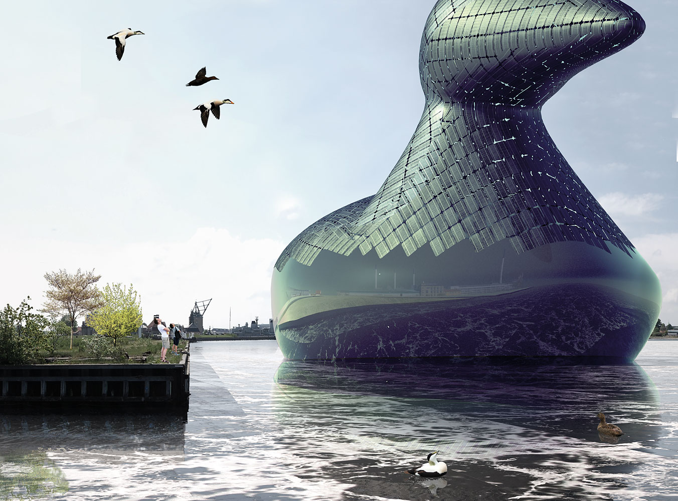 Energy Duck: A submission to the 2014 Land Art Generator Initiative Copenhagen design competition by artists Hareth Pochee, Adam Khan, Louis Leger and Patrick Fryer.
