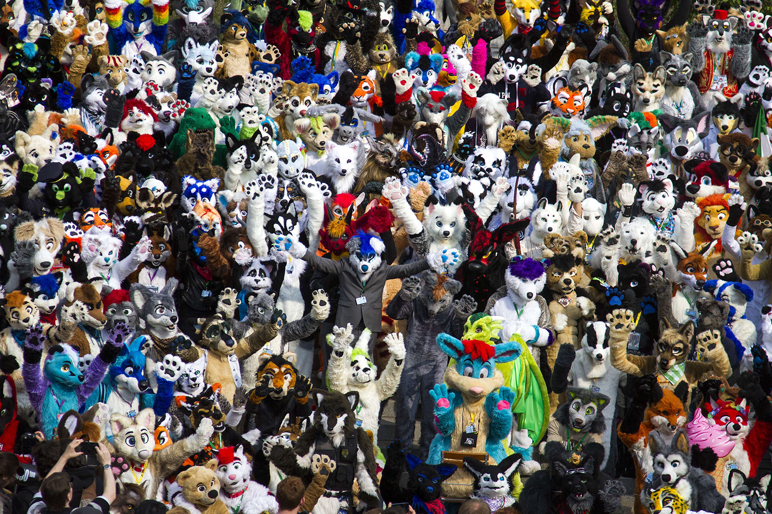 Delegates to the Eurofurence,  Europe's biggest furry convention  pose for a picture in front of the conference hotel in Berlin on August 21, 2014.
