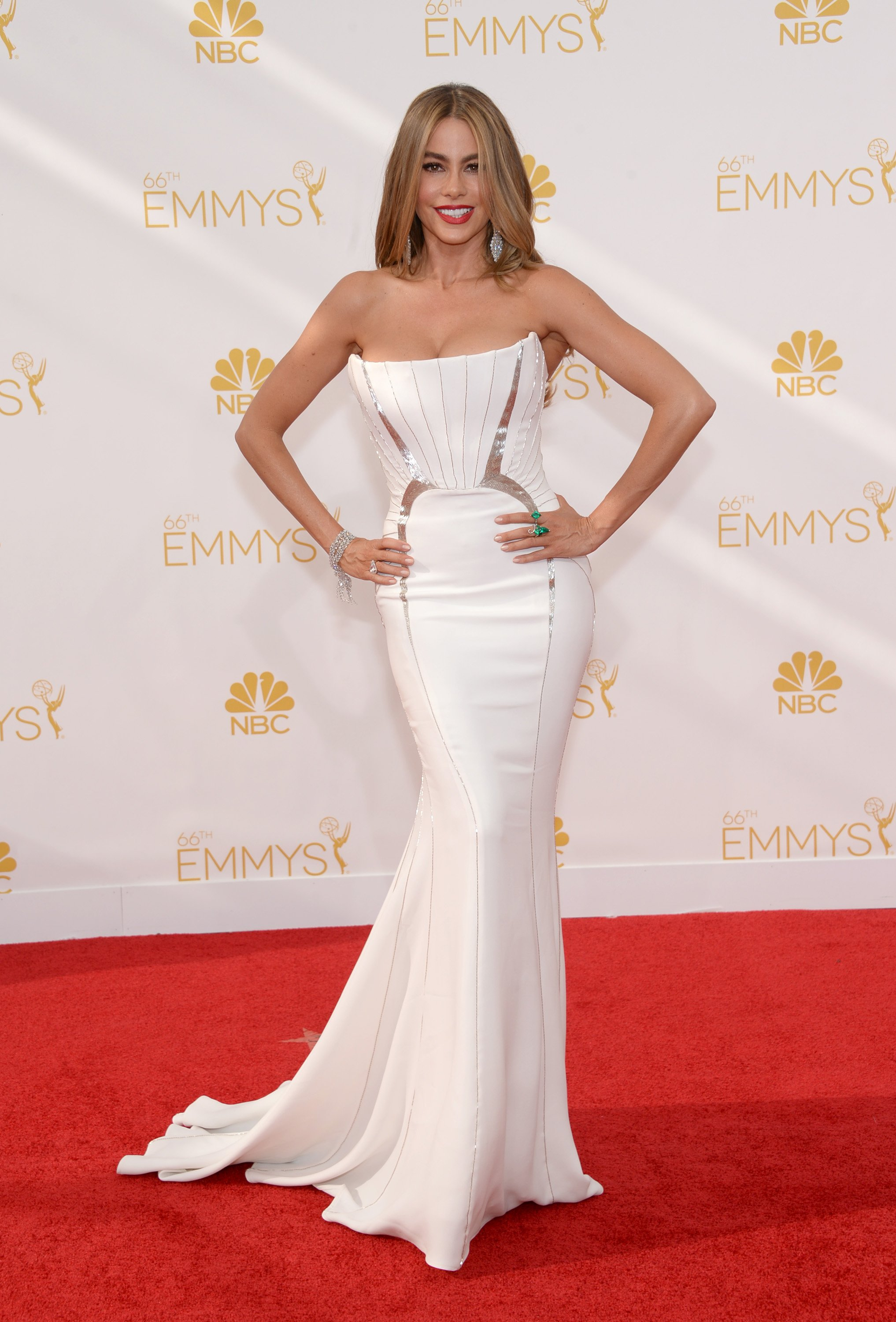 Sofía Vergara arrives at the 66th Primetime Emmy Awards at the Nokia Theatre L.A. Live on Monday, Aug. 25, 2014, in Los Angeles.