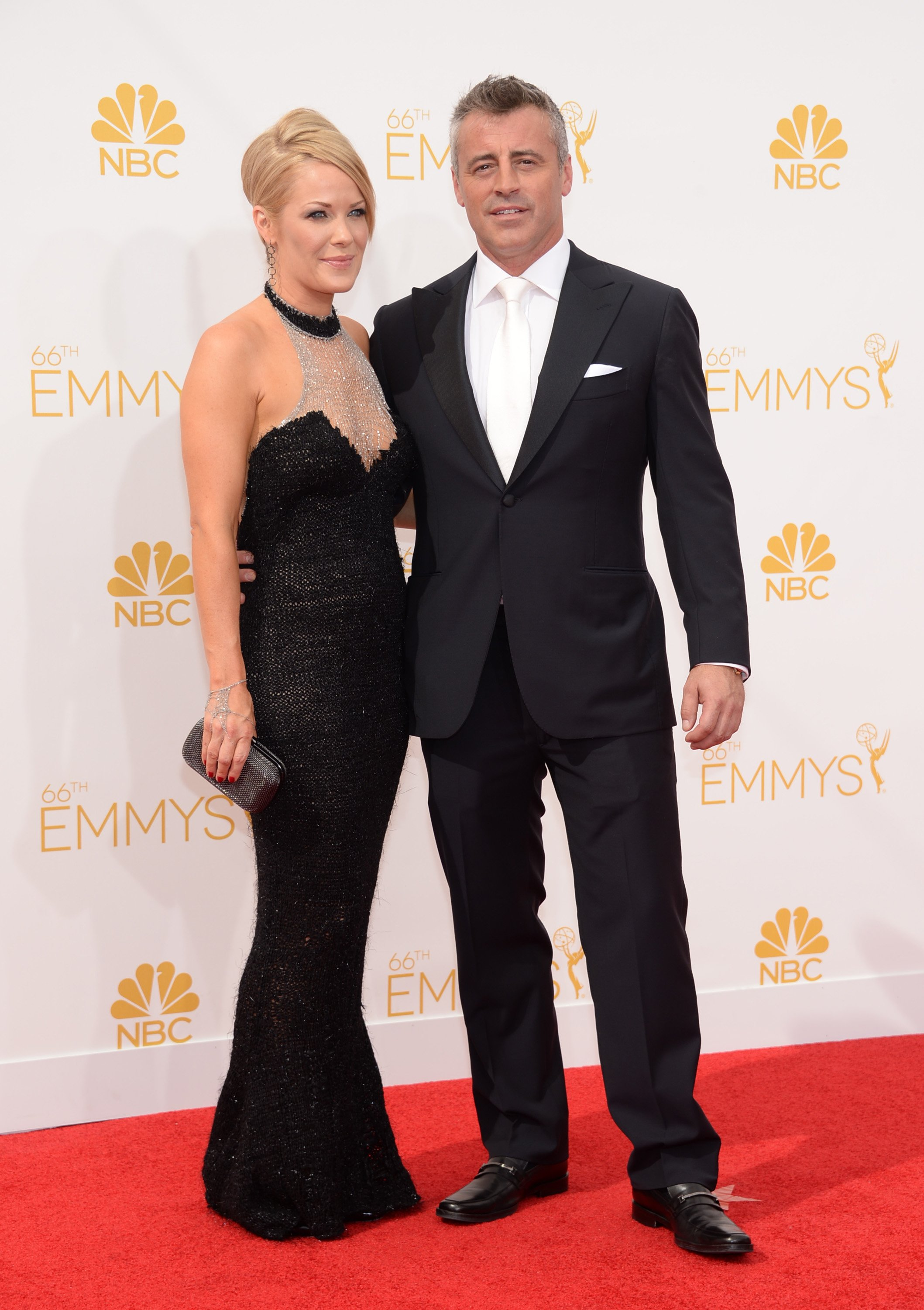 Melissa Mcknight, left, and Matt LeBlanc arrive at the 66th Primetime Emmy Awards at the Nokia Theatre L.A. Live on Monday, Aug. 25, 2014, in Los Angeles.