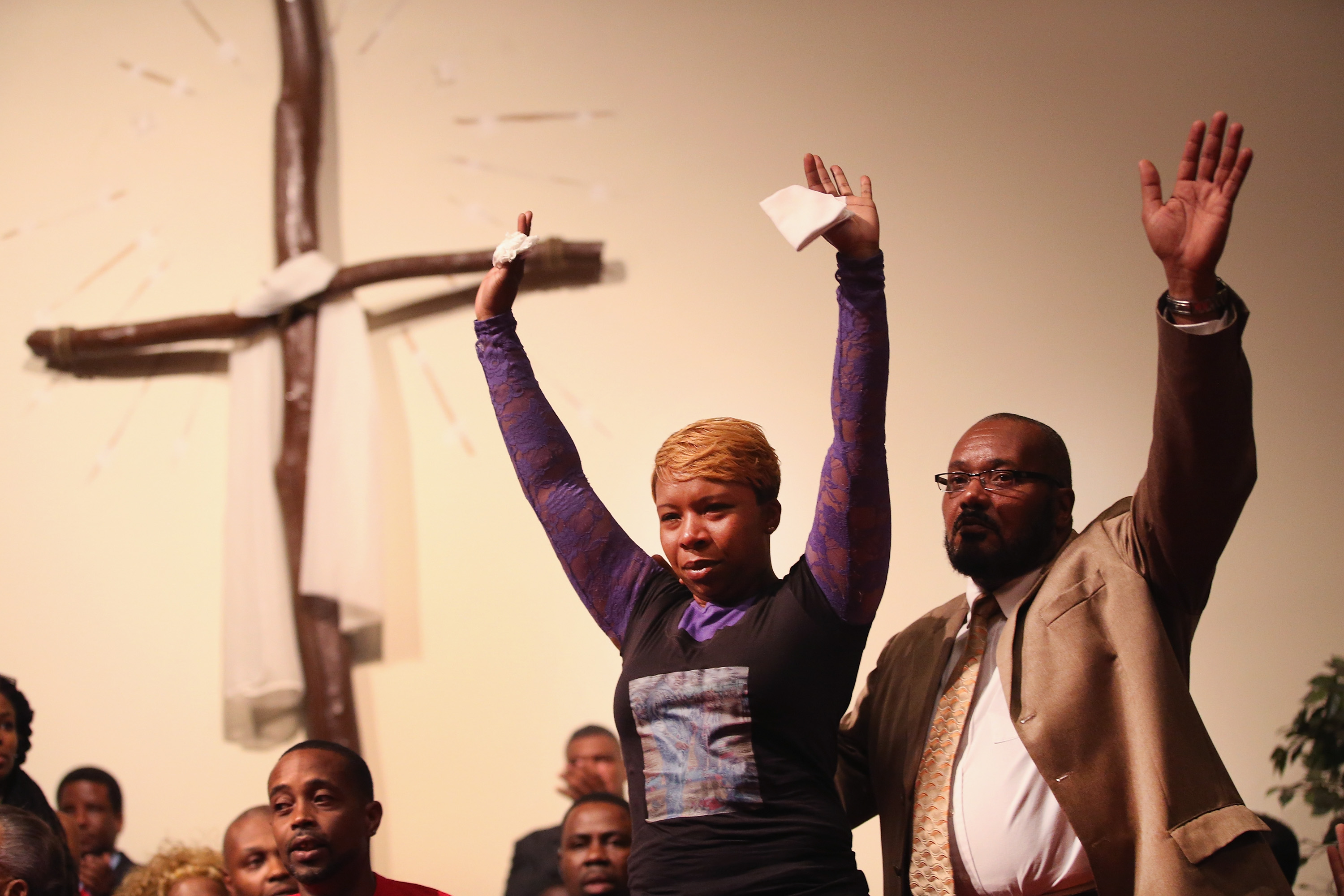Lesley McSpadden the mother of slain teenager Michael Brown joins a capacity crowd of guests at Greater St. Marks Family Church to discuss the killing of her son and the civil unrest resulting from his death on August 12, 2014 in St Louis, Missouri.