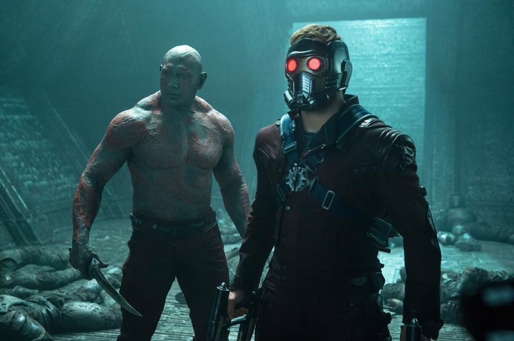 Dave Bautista and Chris Pratt in Marvel's Guardians of the Galaxy