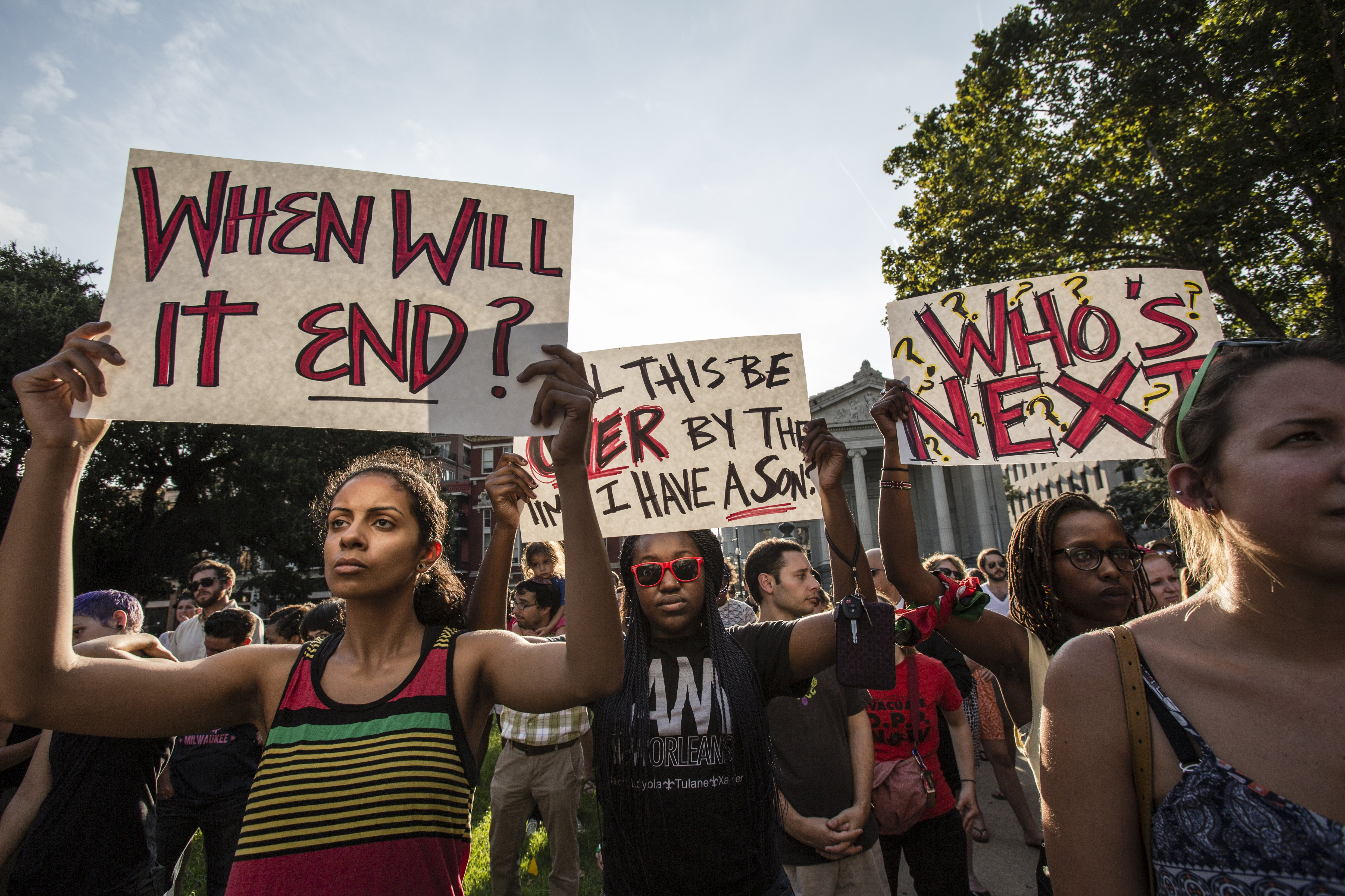 Several hundred people attended a moment of silence in Lafayette Square in downtown New Orleans, followed by a march to the French Quarter on Aug. 14, 2014 following teh shooting of MIchael Brown on Aug. 9, 2014.