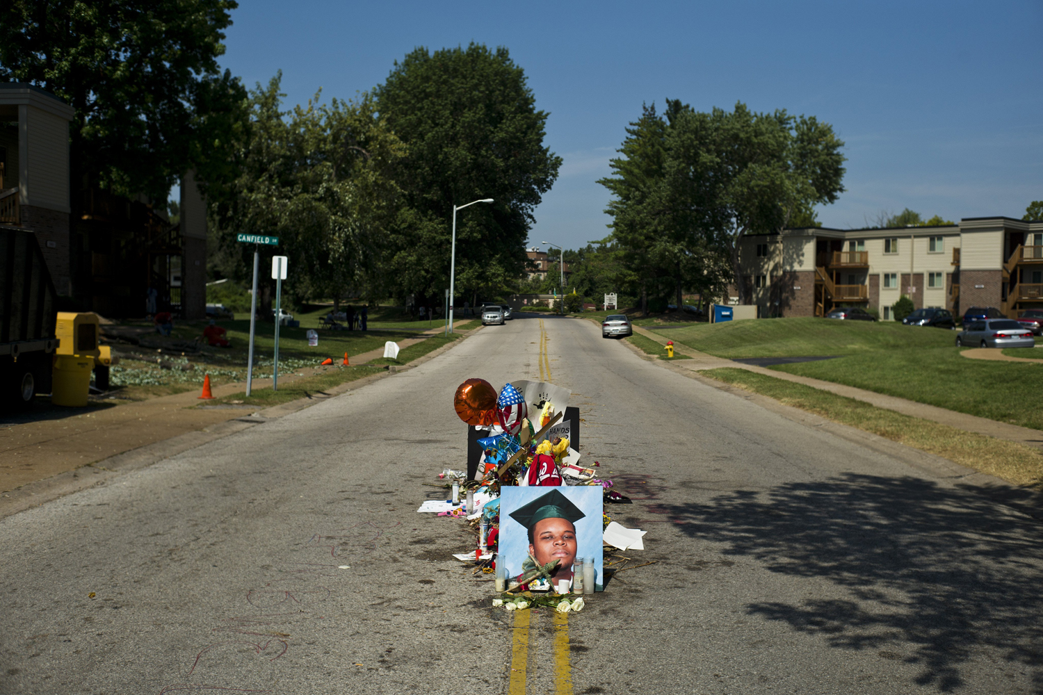 Aug. 26, 2014. A makeshift memorial for Michael Brown, who was fatally shot by a police officer on Aug. 9, on the spot where he was killed in Ferguson, Mo.