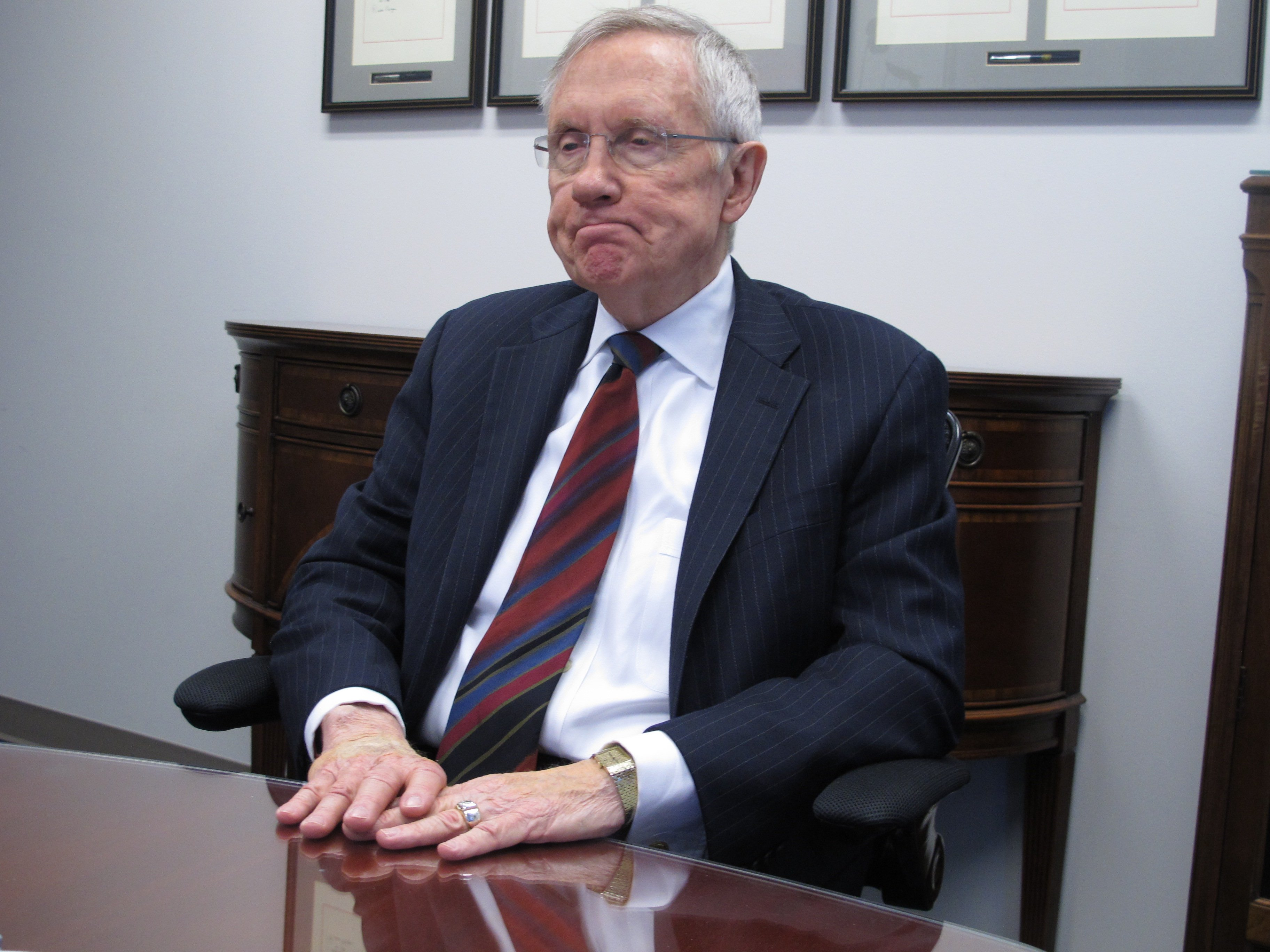 Senate Majority Leader Harry Reid, D-Nev., talks to reporters in his Reno, Nev. office on Monday, Aug. 18, 2014. He said he doesn't intend to waste his time raising money for Democrat Bob Goodman in an unlikely bid to unseat popular Republican Gov. Brian Sandoval in November. (AP Photo/Scott Sonner)