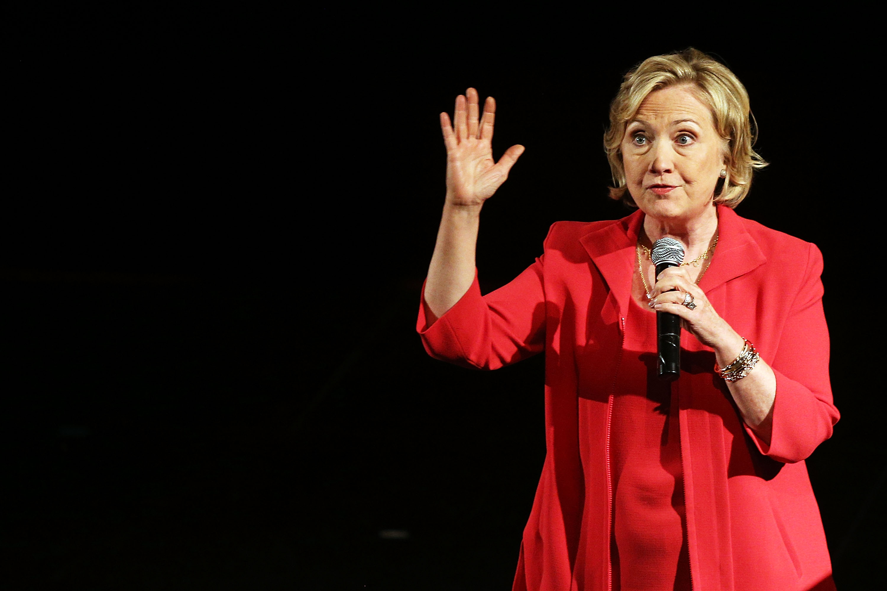 Former Secretary of State Hillary Clinton speaks on stage at the campus of Lehman College for the Dream Big Day at the Bronx Children's Museum on July 25, 2014 in the Bronx New York.