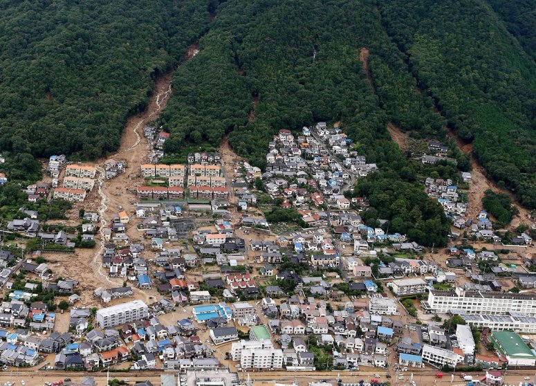 This aerial view shows the damage caused by a landslide after heavy rains hit the city of Hiroshima, western Japan, on Aug. 20, 2014.