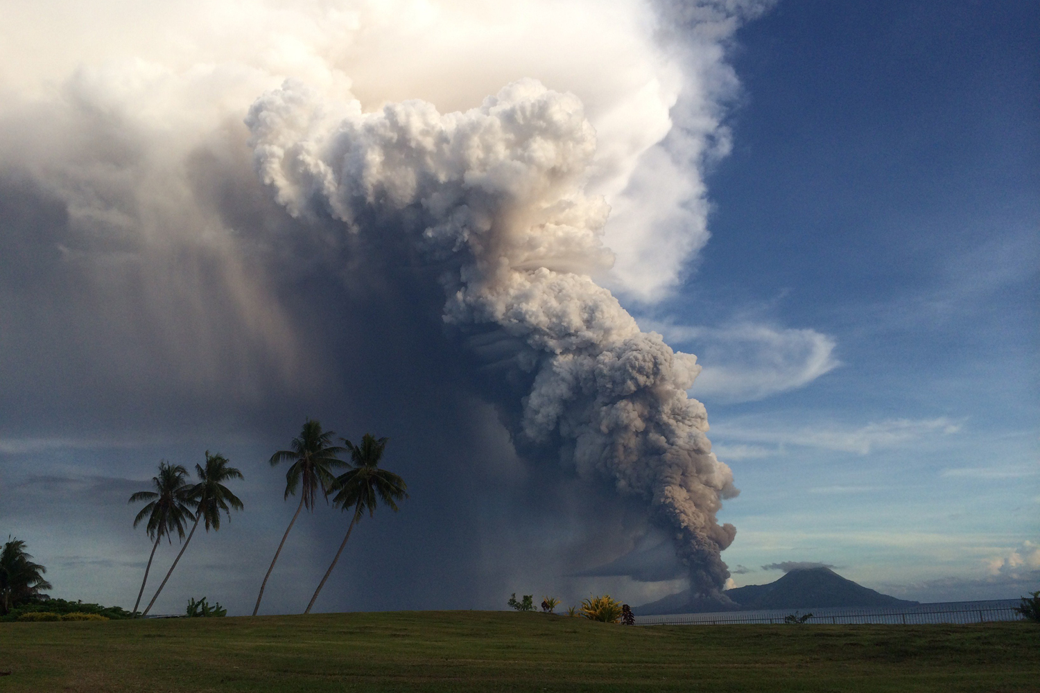 Aug. 29, 2014. Mount Tavurvur erupting in eastern Papua New Guinea, spewing rocks and ash into the air, forcing the evacuation of local communities and international flights to be re-routed.