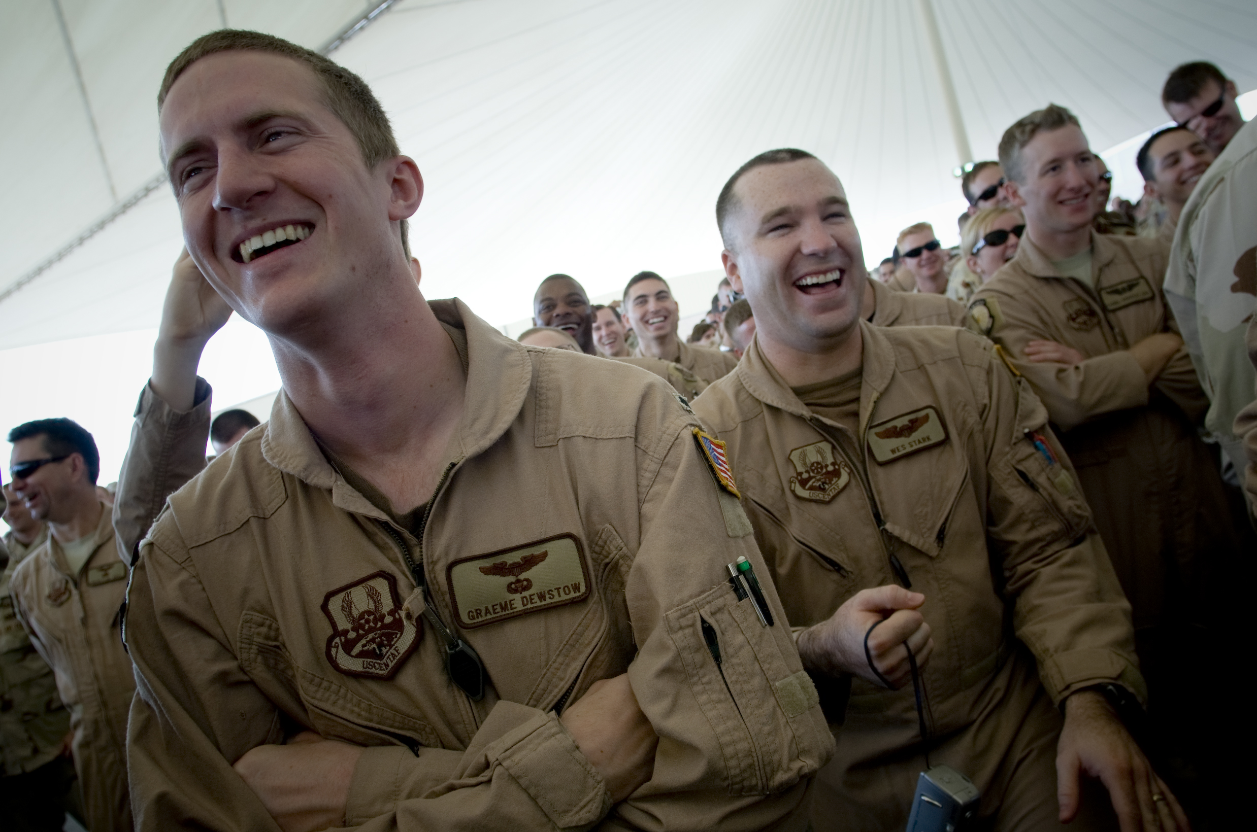 Airman enjoy Robin Williams' shtick during a 2007 show in Kuwait.