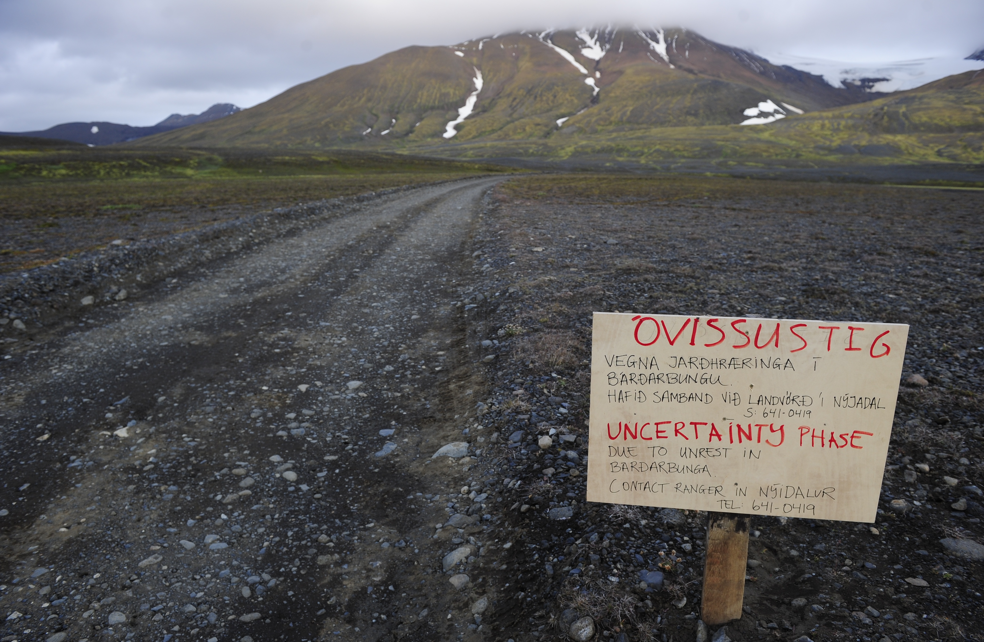 A warning sign blocks the road to Bardarbunga volcano in the north-west region of the Vatnajokull glacier, Iceland on Aug. 19, 2014.