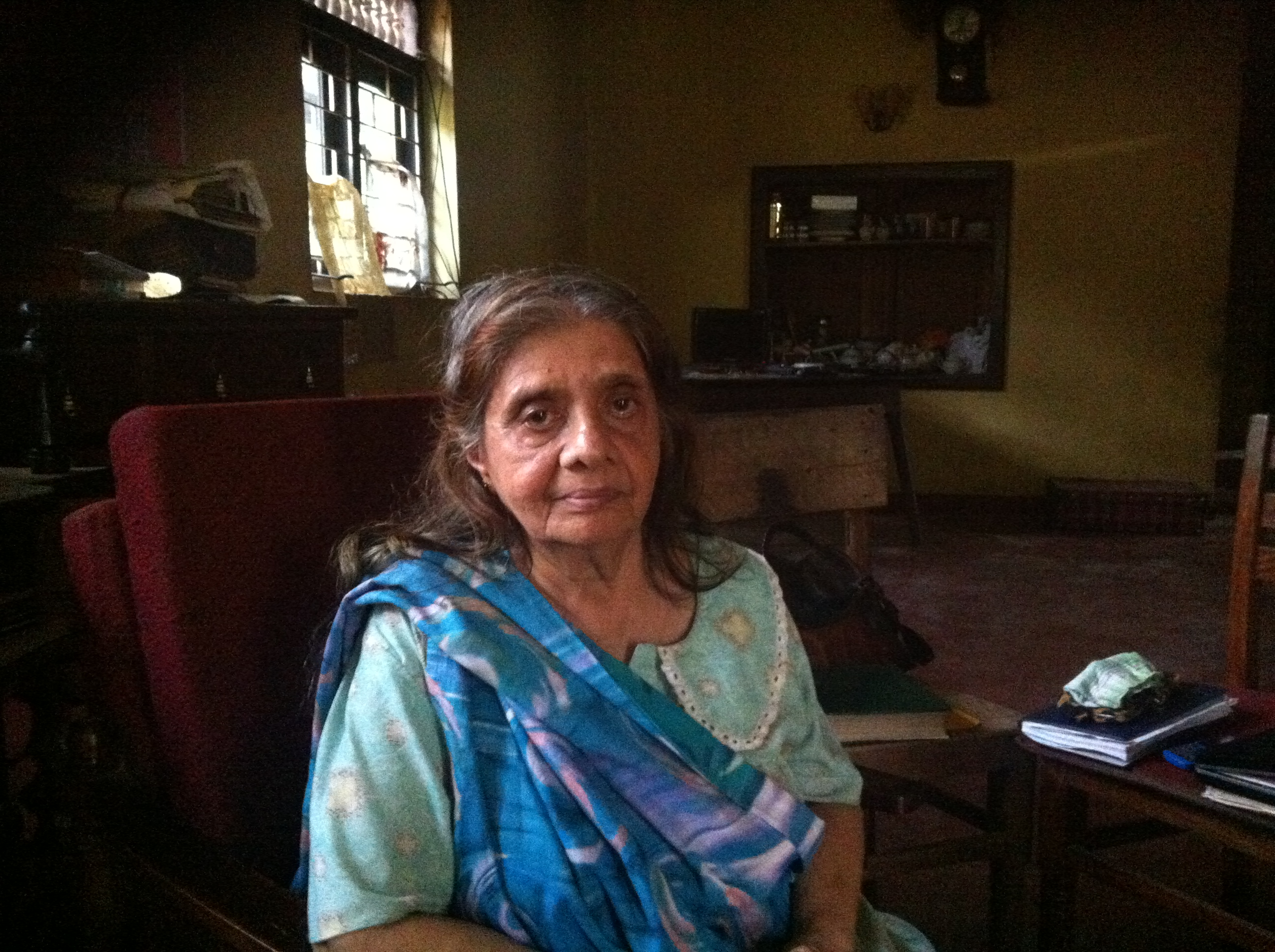 Nafeesathiek Thahira Sahabdeen, 68, at her ransacked home in Dharga Town, Sri Lanka.