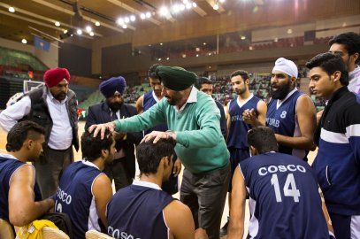 Punjab team time out during their semi-finals match against Tamil Nadu at the 64th Senior National Basketball Championship for Men and Women, Delhi 2014.
