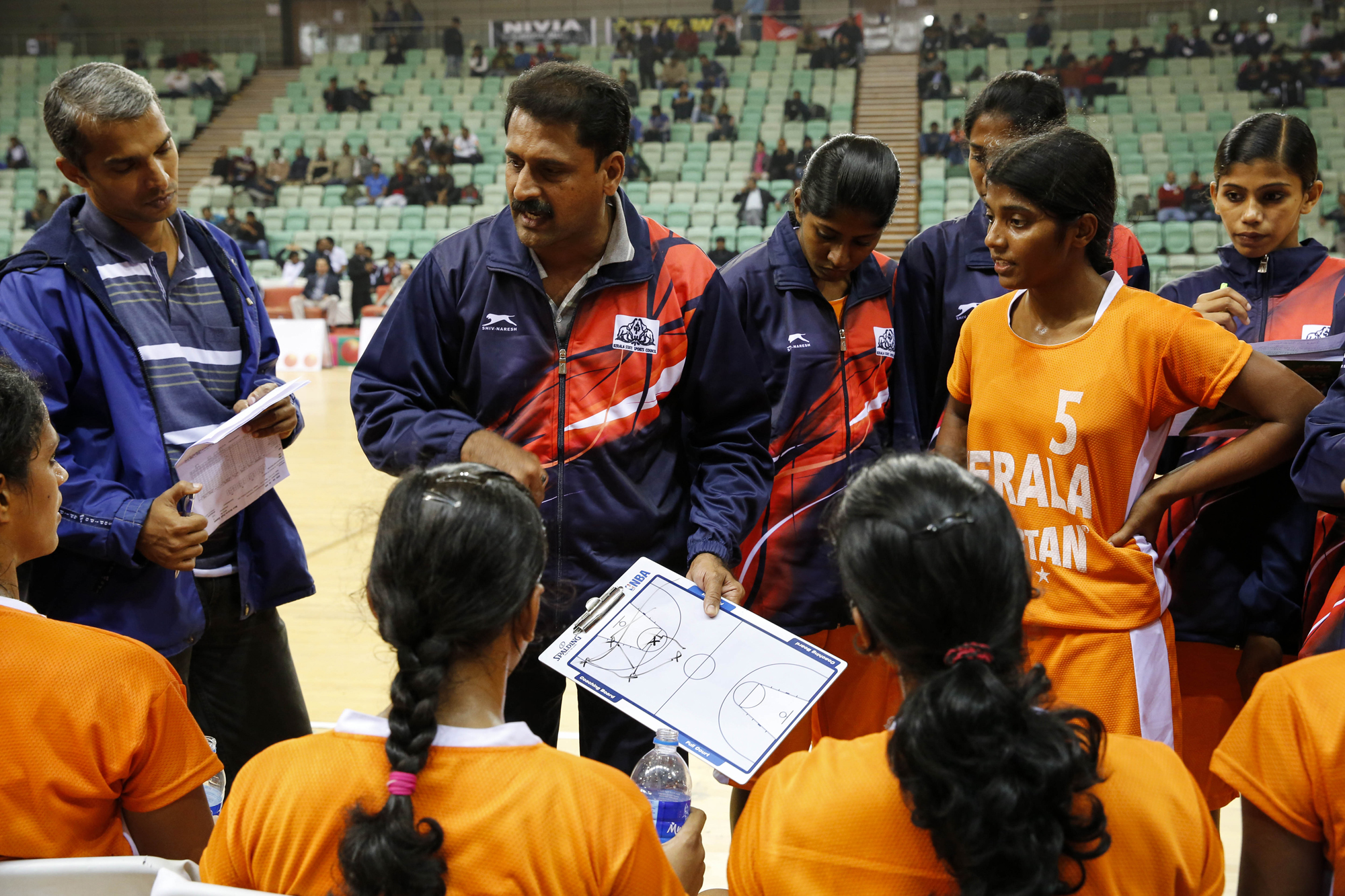 Kerala team time out, 64th Senior National Basketball Championship, Delhi, 2014.