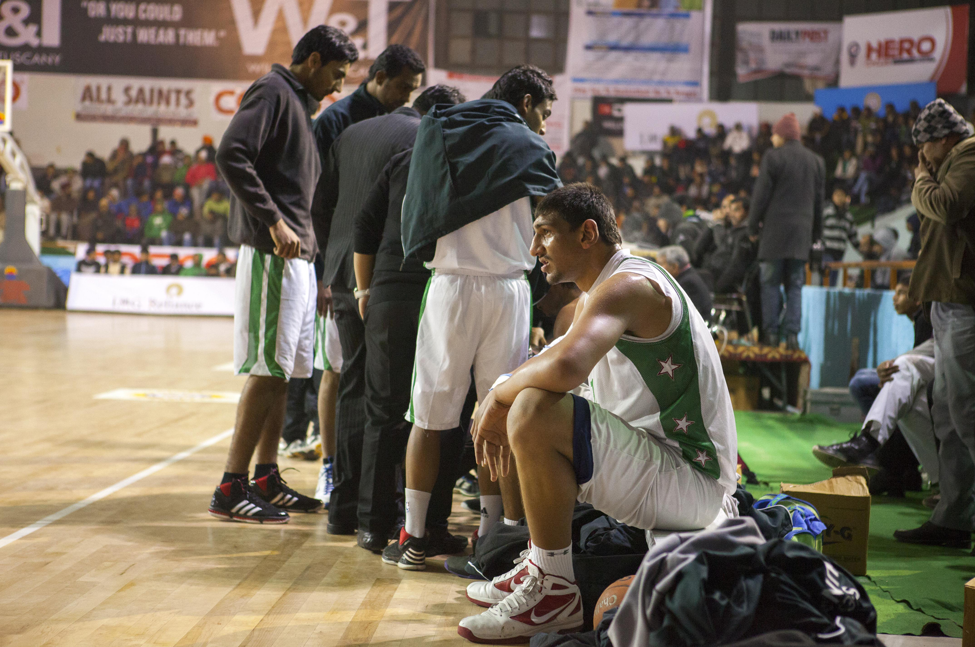 Satnam Singh Bhamara. Punjab team bench, 63rd Senior National Basketball Championship, Ludhiana, 2013. Satnam, India's 7ft 2in future hope for the NBA had come to play for the Punjab team from America where he was on scholarship at the IMG Academy in Florida.