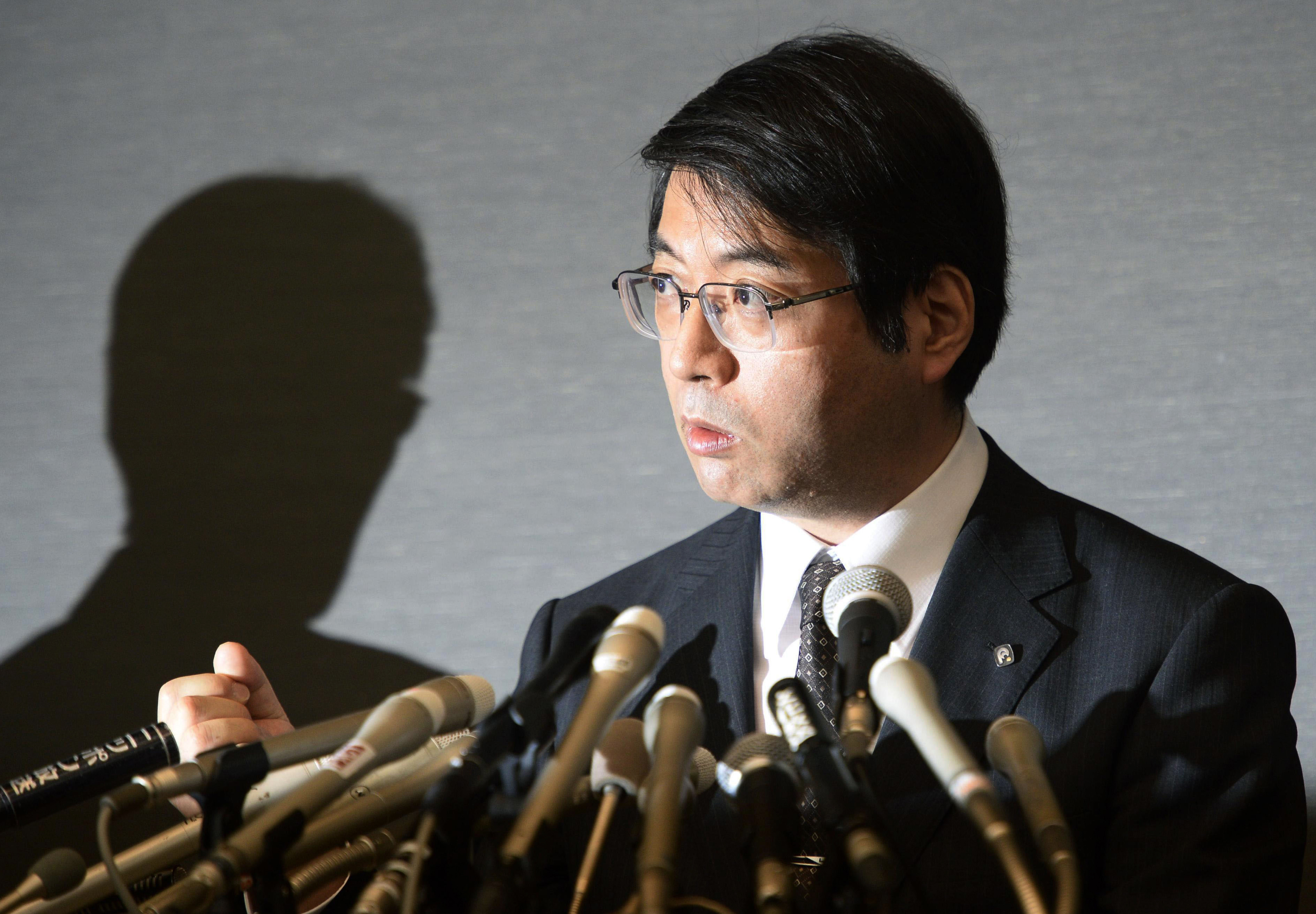 Yoshiki Sasai, deputy chief of the RIKEN Center for Developmental Biology, speaks during a press conference in Tokyo on April 16, 2014. Police said Sasai, 52, was found dead on Tuesday, Aug. 5, 2014.
