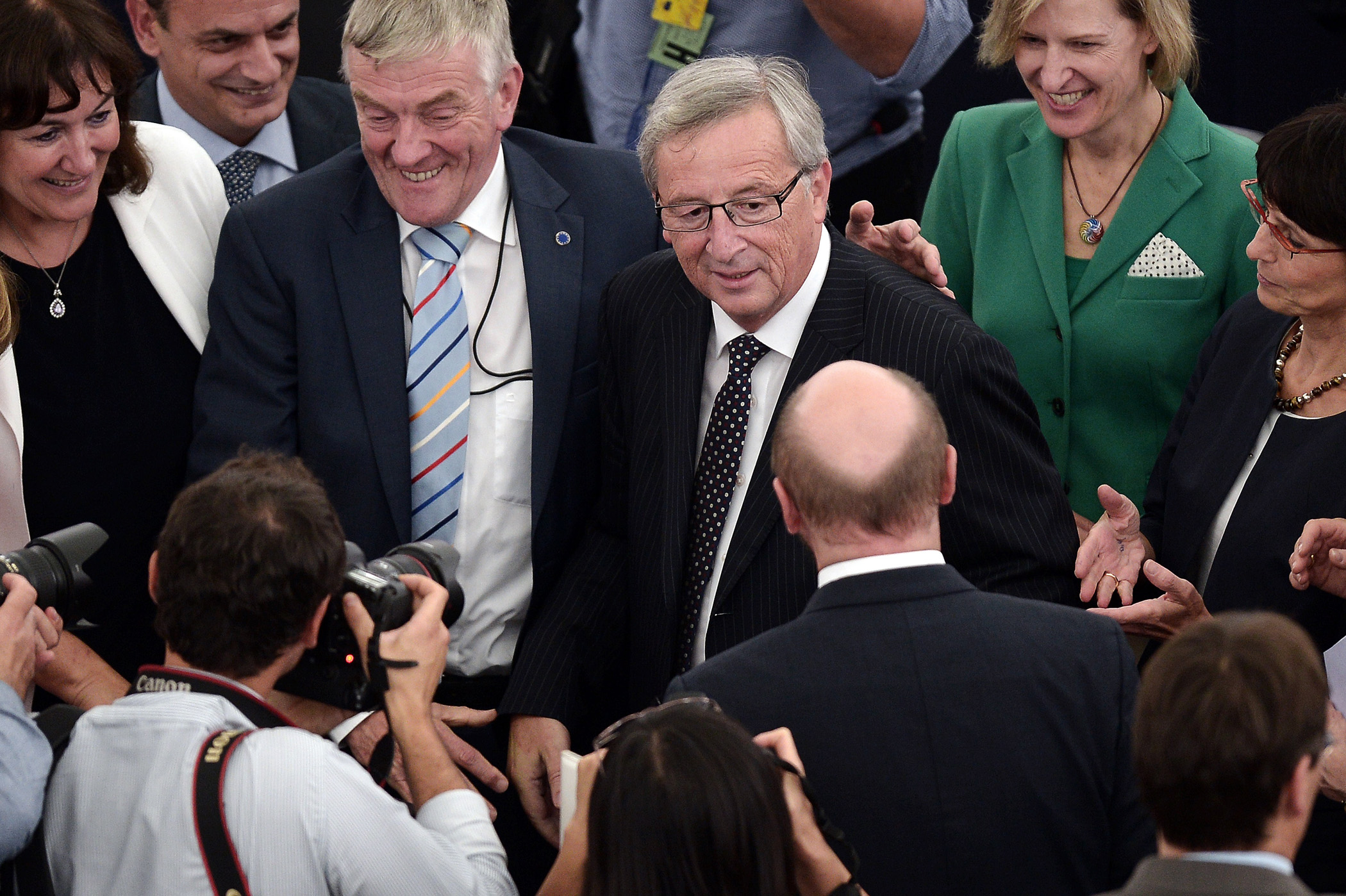 Newly elected President of the European Commission, Jean-Claude Juncker is congratulated  on July 15, 2014, in the European Parliament in Strasbourg, France.