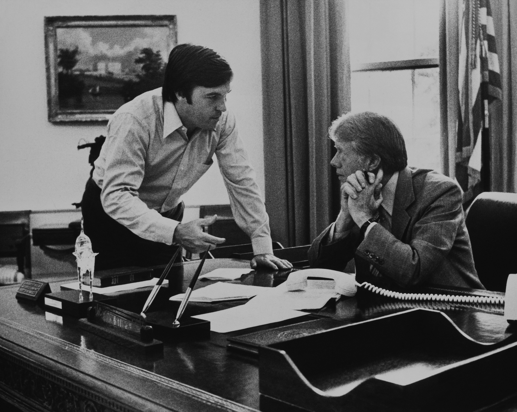 President Jimmy Carter And Hamilton Jordan, White House Chief Of Staff, In Washington On March 2, 1978