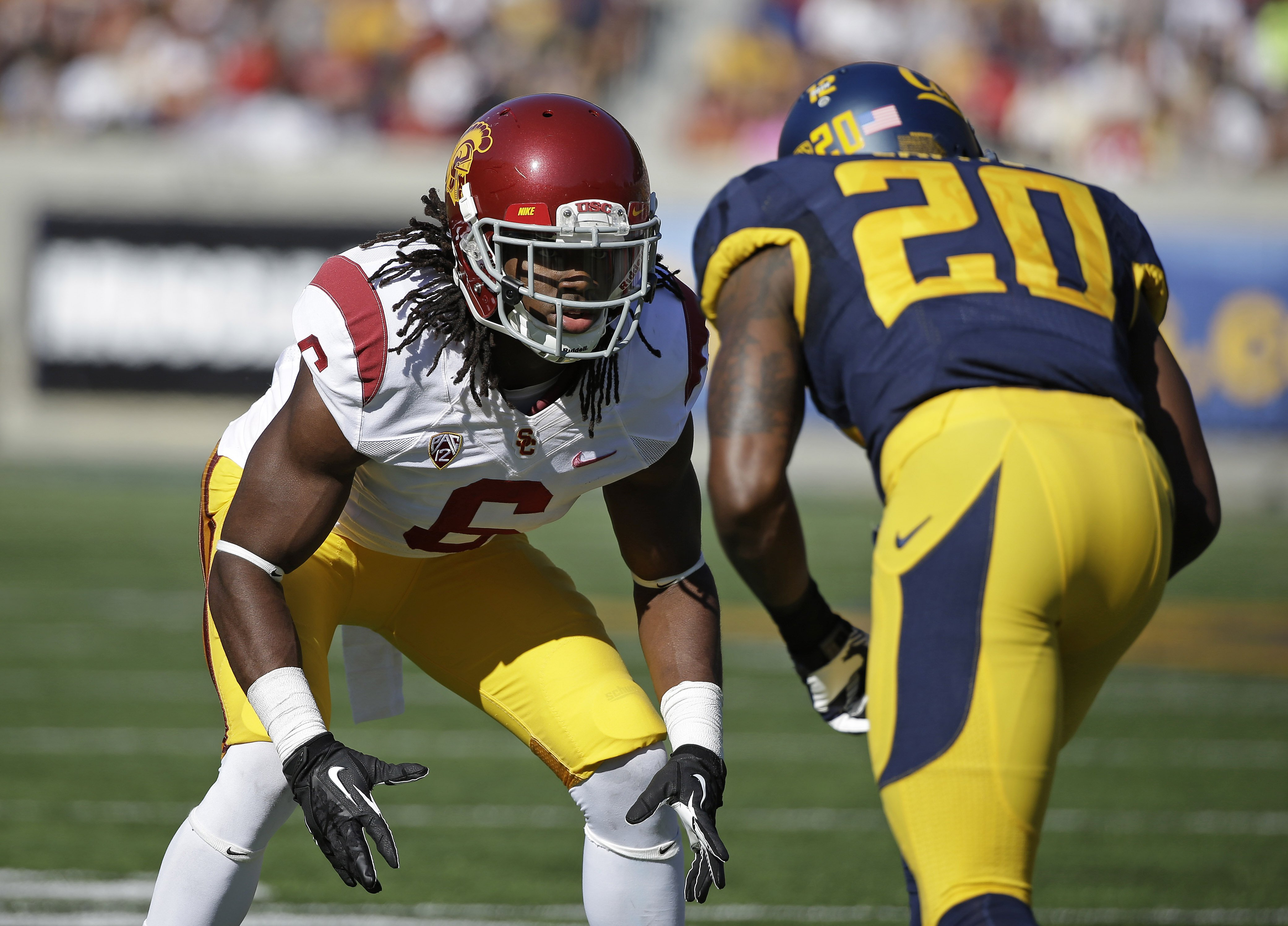 Southern California cornerback Josh Shaw lines up against California defensive back Isaac Lapite during the first quarter of a NCAA college football game in Berkeley, Calif.