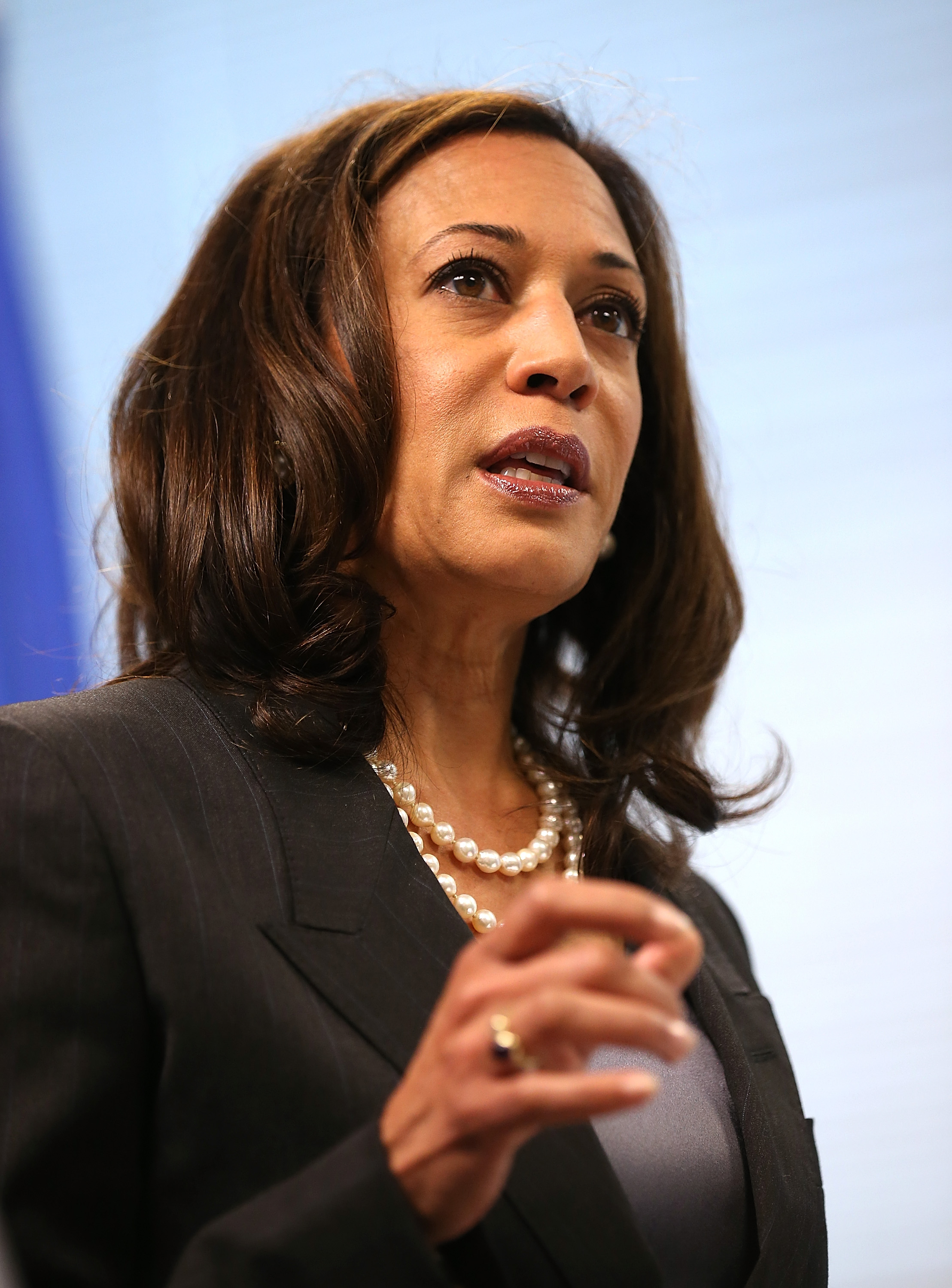 California Attorney General Kamala Harris speaks during a news conference on October 10, 2013 in San Francisco.