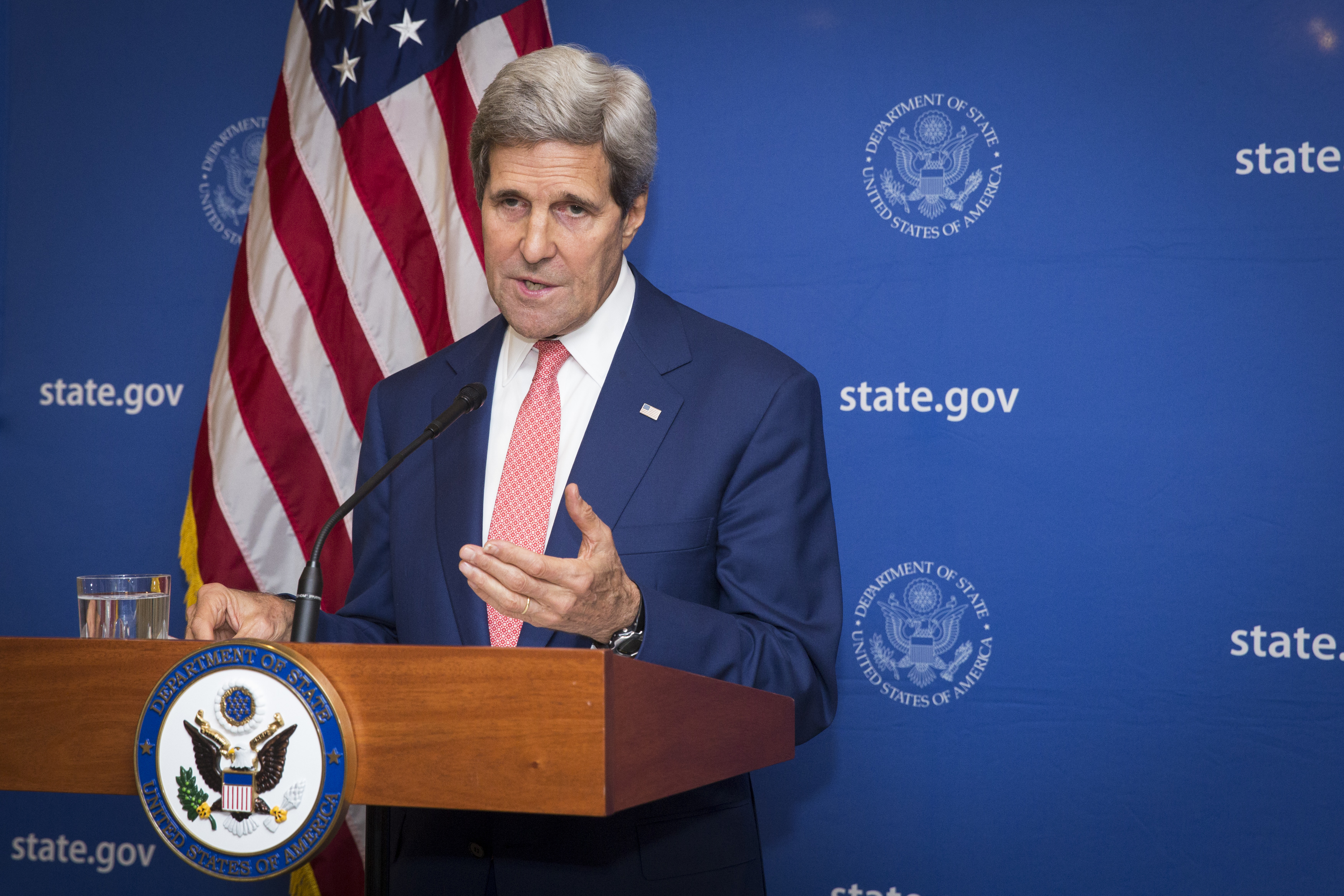U.S. Secretary of State John Kerry announces a 72-hour humanitarian cease-fire beginning Friday between Israel and Hamas, in New Delhi, India, on August 1, 2014.