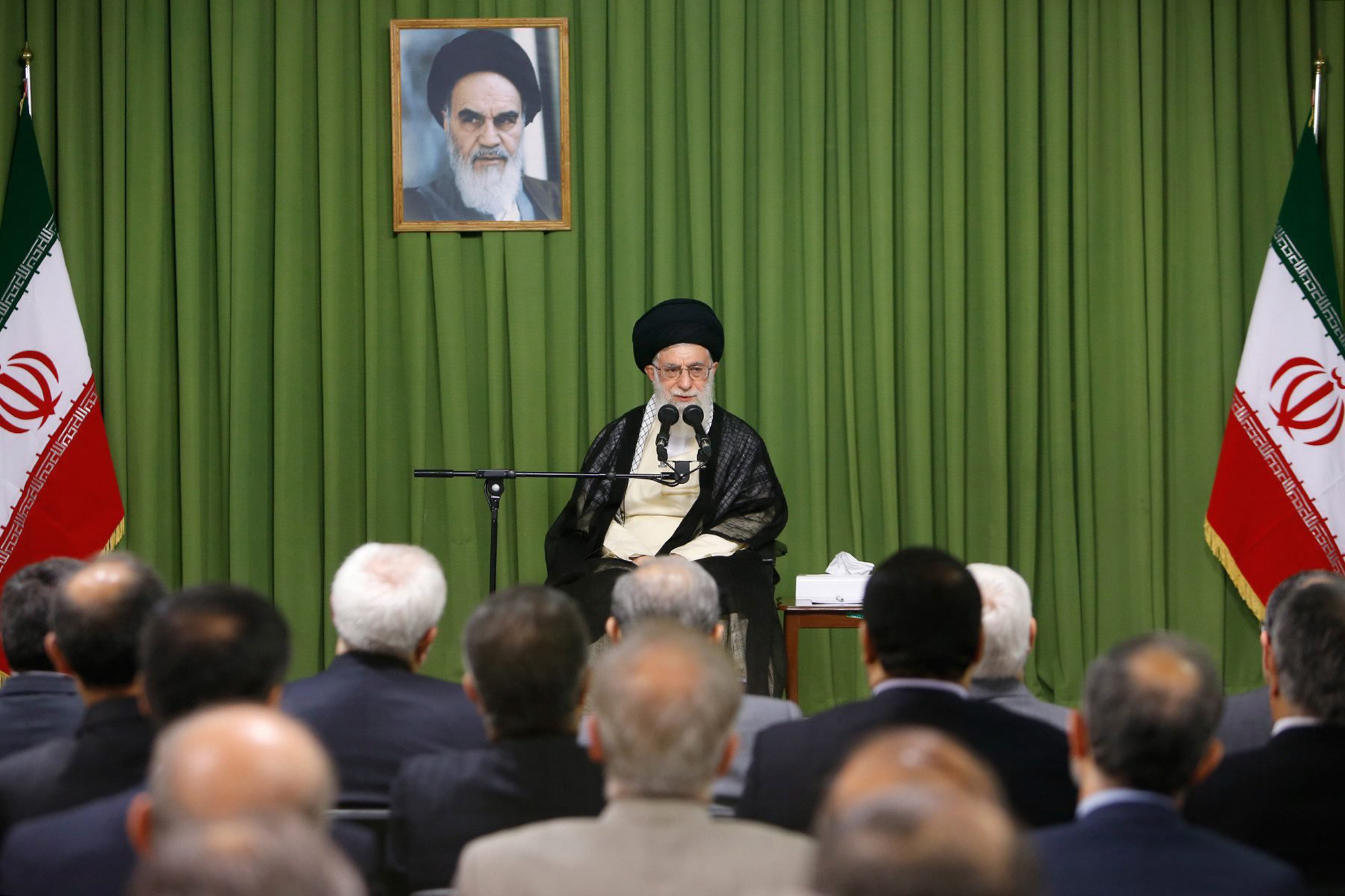 Iran's Supreme leader Ayatollah Ali Khamenei speaking to Iranian ambassadors abroad during a ceremony in Tehran, Aug. 13, 2014.