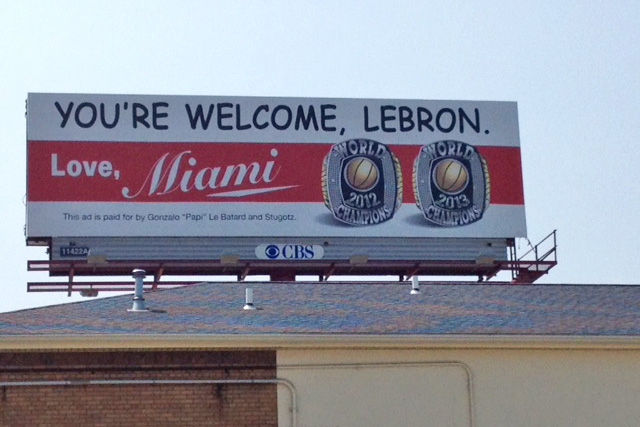 A new billboard was spotted in Akron, Ohio today.