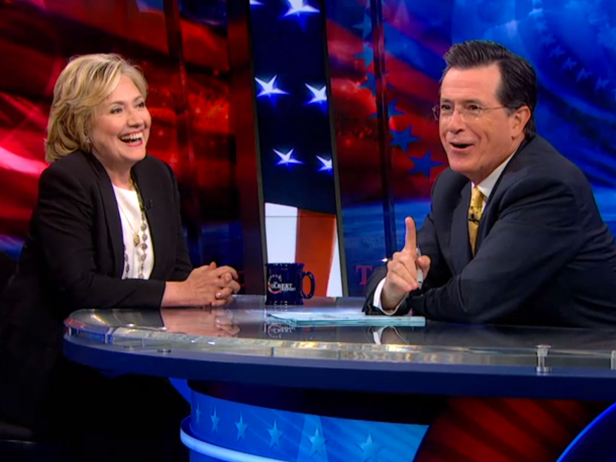 Hillary Clinton drops in on the Colbert Report.