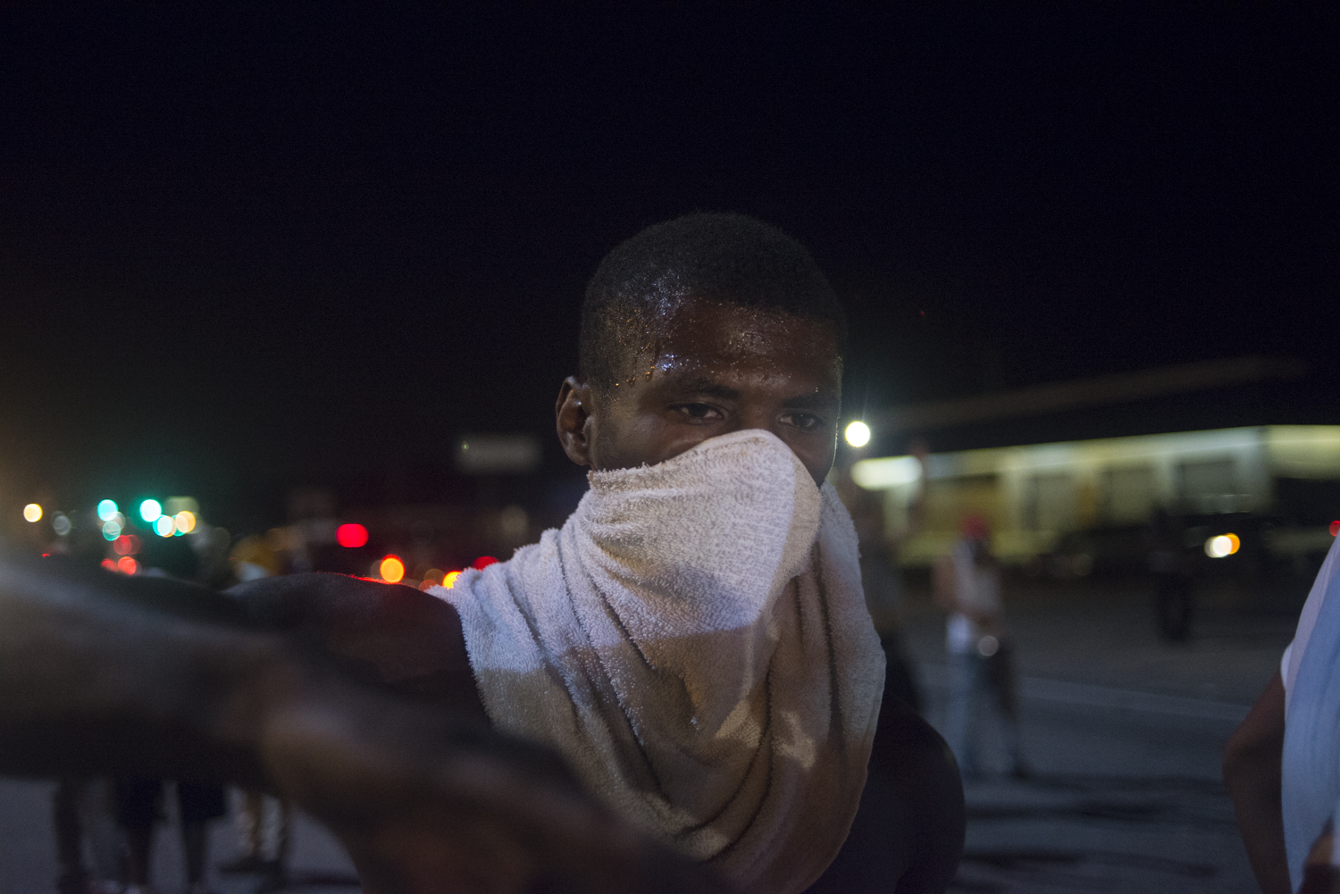A protestor during demonstrations in Ferguson, Mo. on August 17, 2014.