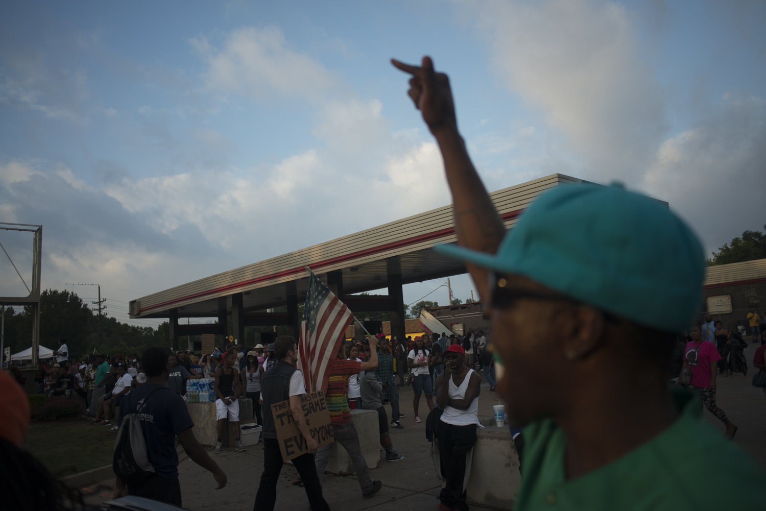 Protestors demonstrate against the killing of Michael Brown by police officer Darren Wilson in Ferguson, Mo. on August 17, 2014.