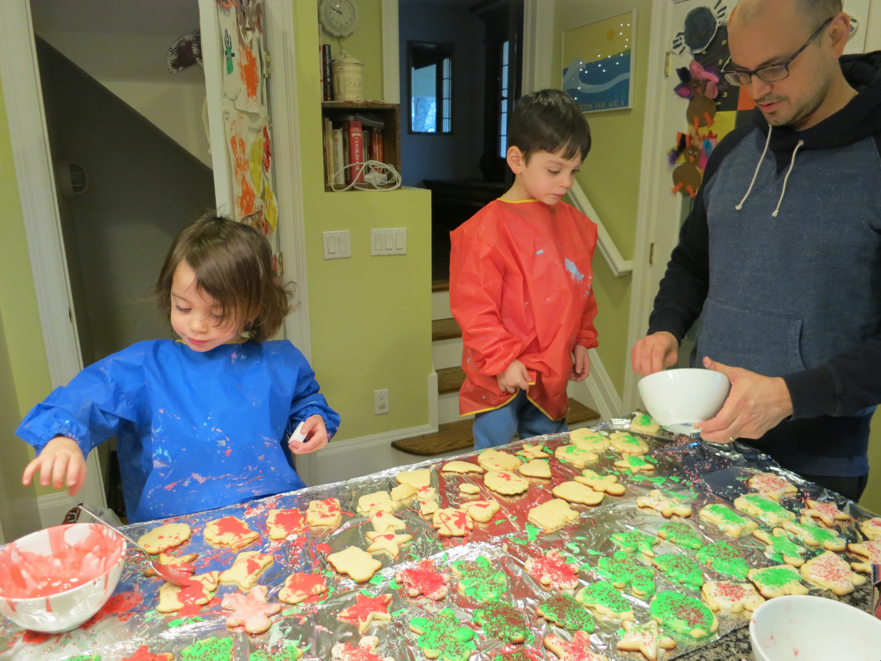 The author bakes cookies with his 3-year-old twins