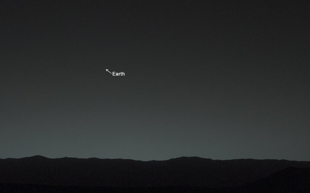 The Mar's Curiosity Rover's first photo of earth from the surface of Mars via Twitter