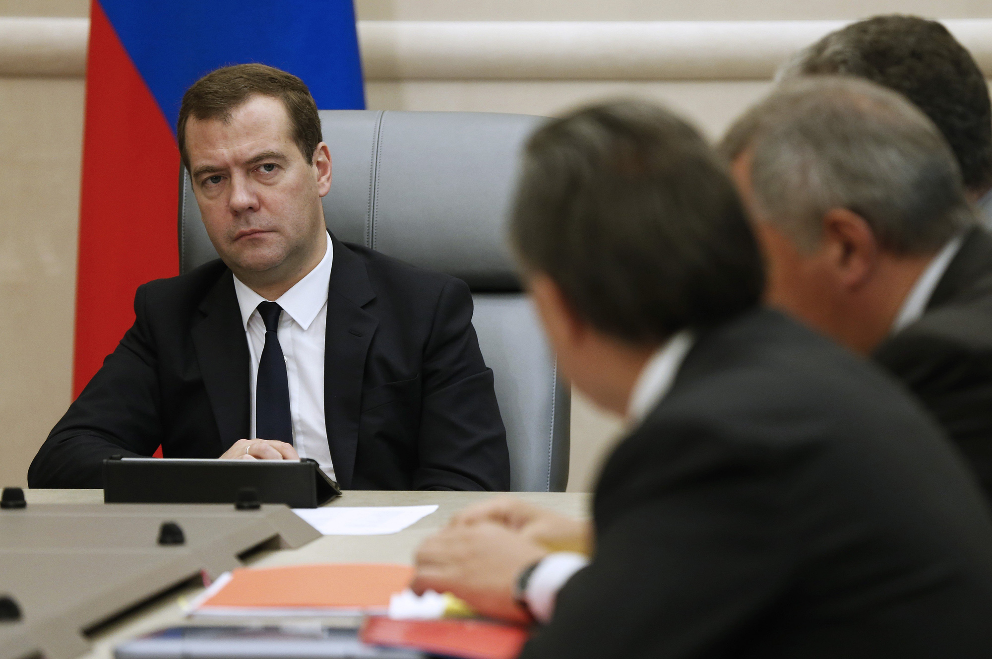 Russia's prime minister Dmitry Medvedev holds a meeting with deputy PMs at the House of the Russian Government, Aug 11, 20014.