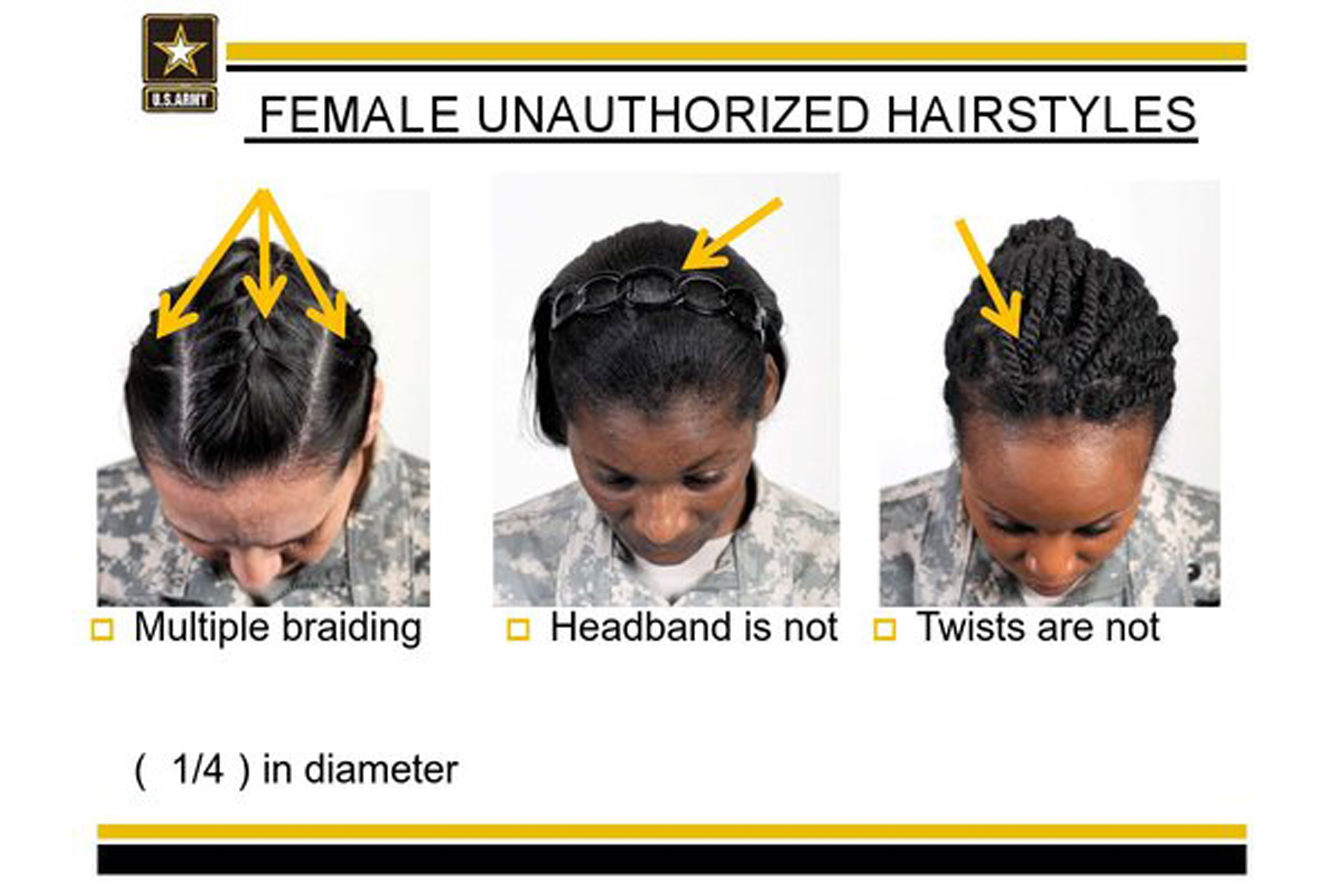 This undated image provided by the US Army shows new Army grooming regulations for females.