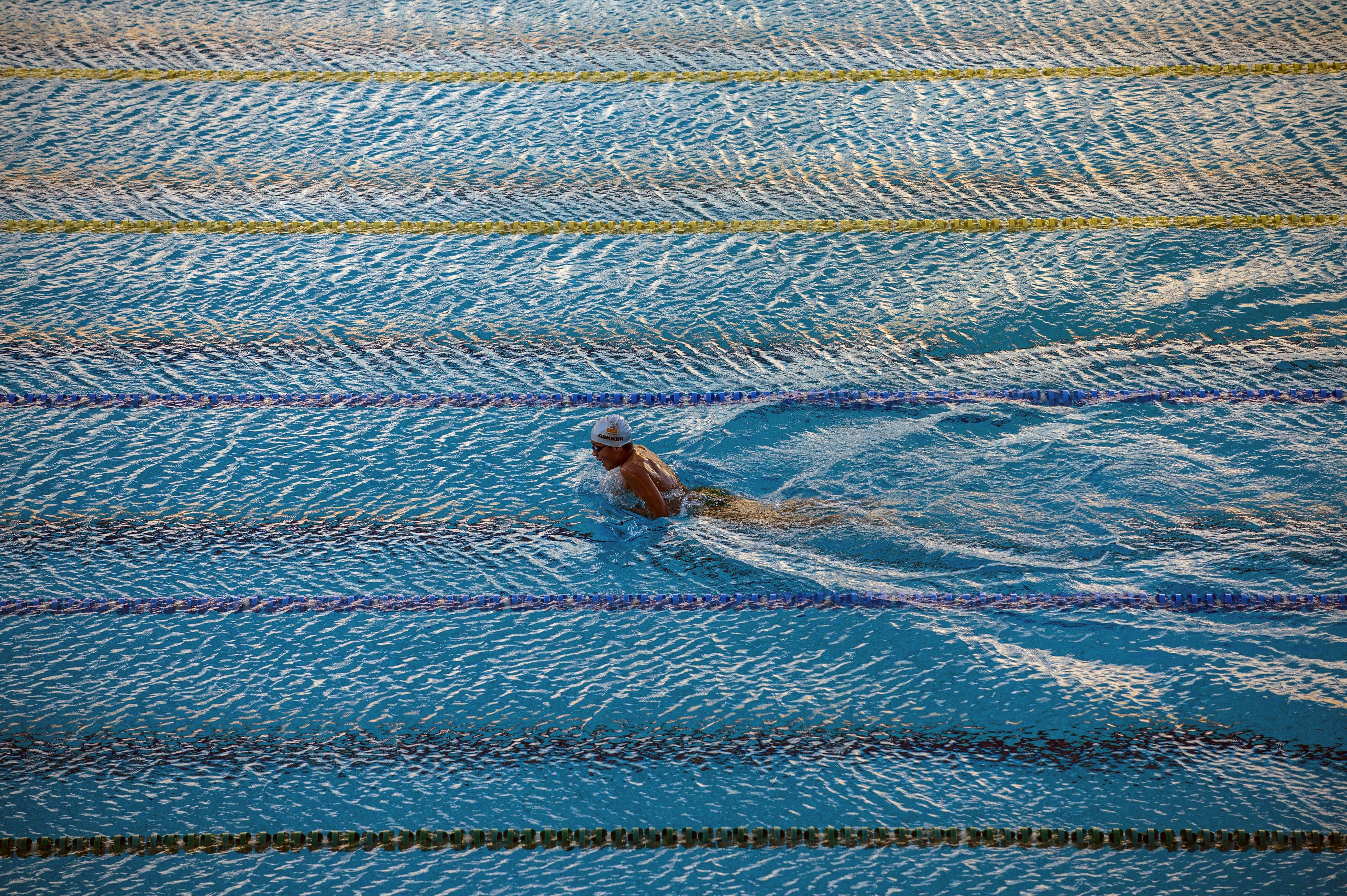 Aug. 6, 2014. A swimmer trains at the Maria Lenk Aquatic Center before renovation works to be Barra Aquatic center for the Rio 2016 Olympic and Paralympic games, in Barra de Tijuca, in Rio de Janeiro, Brazil.