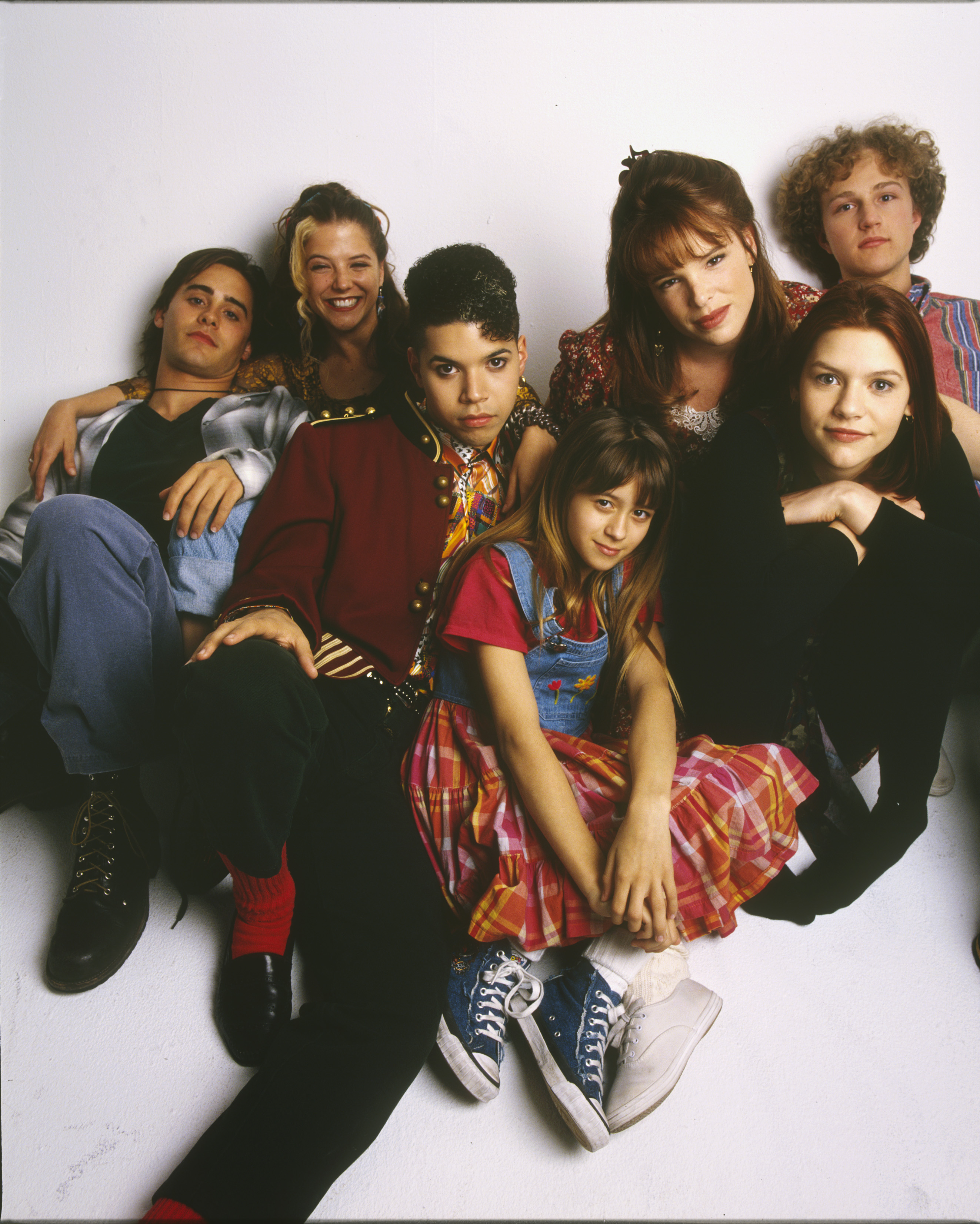 UNITED STATES - AUGUST 25:  MY SO-CALLED LIFE - gallery - 8/25/94, Claire Danes (second from right) played Angela Chase, a 15-year-old who wanted to break out of the mold as a strait-laced teen-ager and straight-A student. Pictured, left to right: Jason Leto (Jordan Catalano), A.J. Langer (Rayanne Graff), Wilson Cruz (Rickie Vasquez), Lisa Wilhoit (Danielle Chase), Devon Odessa (Sharon Cherski), Claire Danes (Angela Chase), Devon Gummersall (Brian Krakow),  (Photo by Mark Seliger/ABC via Getty Images)