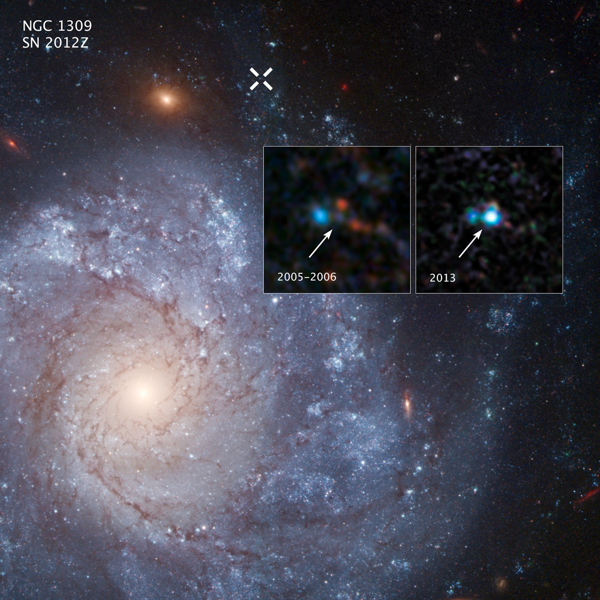 The two inset images show before-and-after images captured by NASA's Hubble Space Telescope of Supernova 2012Z in the spiral galaxy NGC 1309. The white X at the top of the main image marks the location of the supernova in the galaxy.