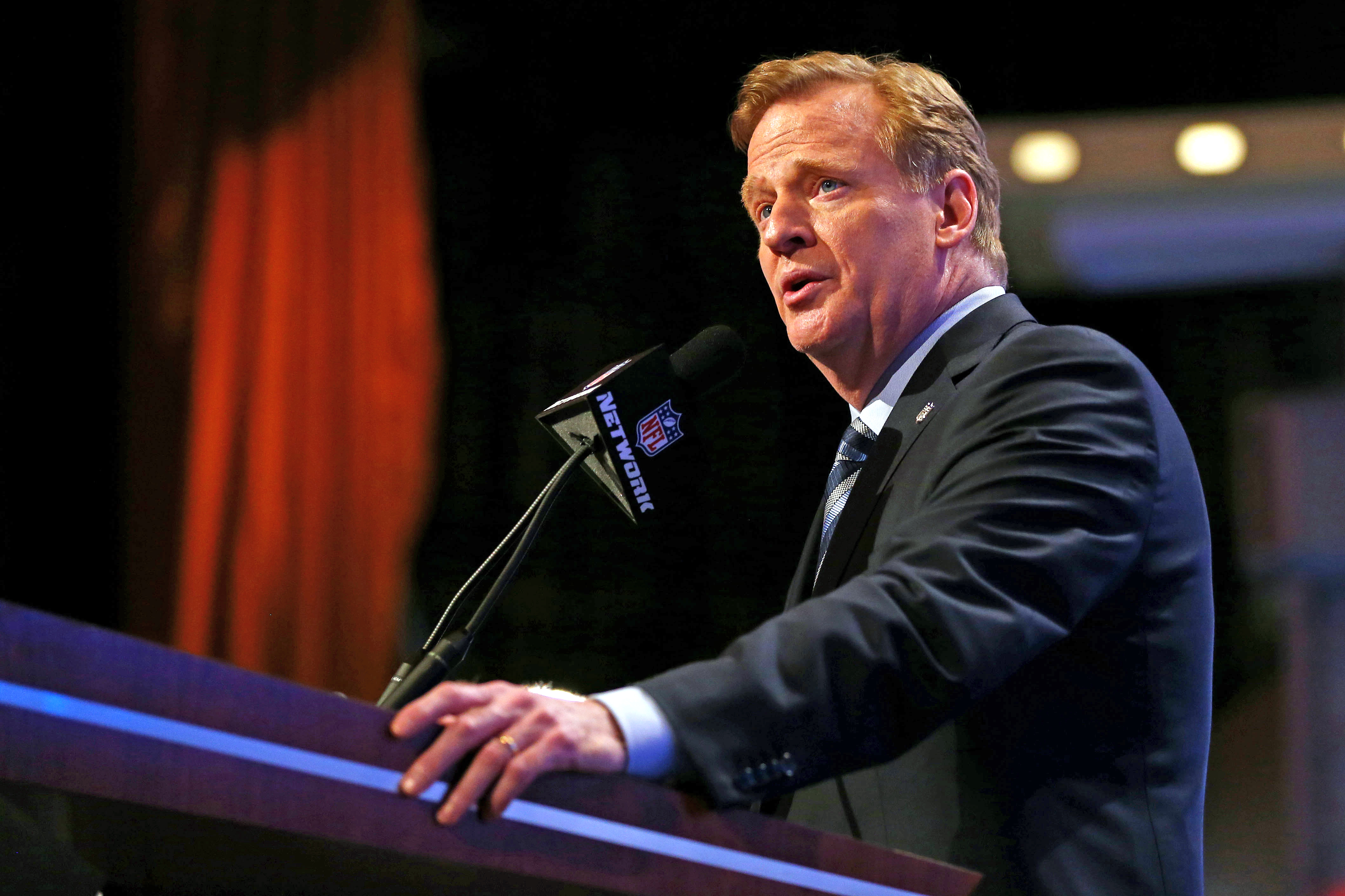 NFL Commissioner Roger Goodell speaks during the first round of the 2014 NFL Draft at Radio City Music Hall on May 8, 2014 in New York City.