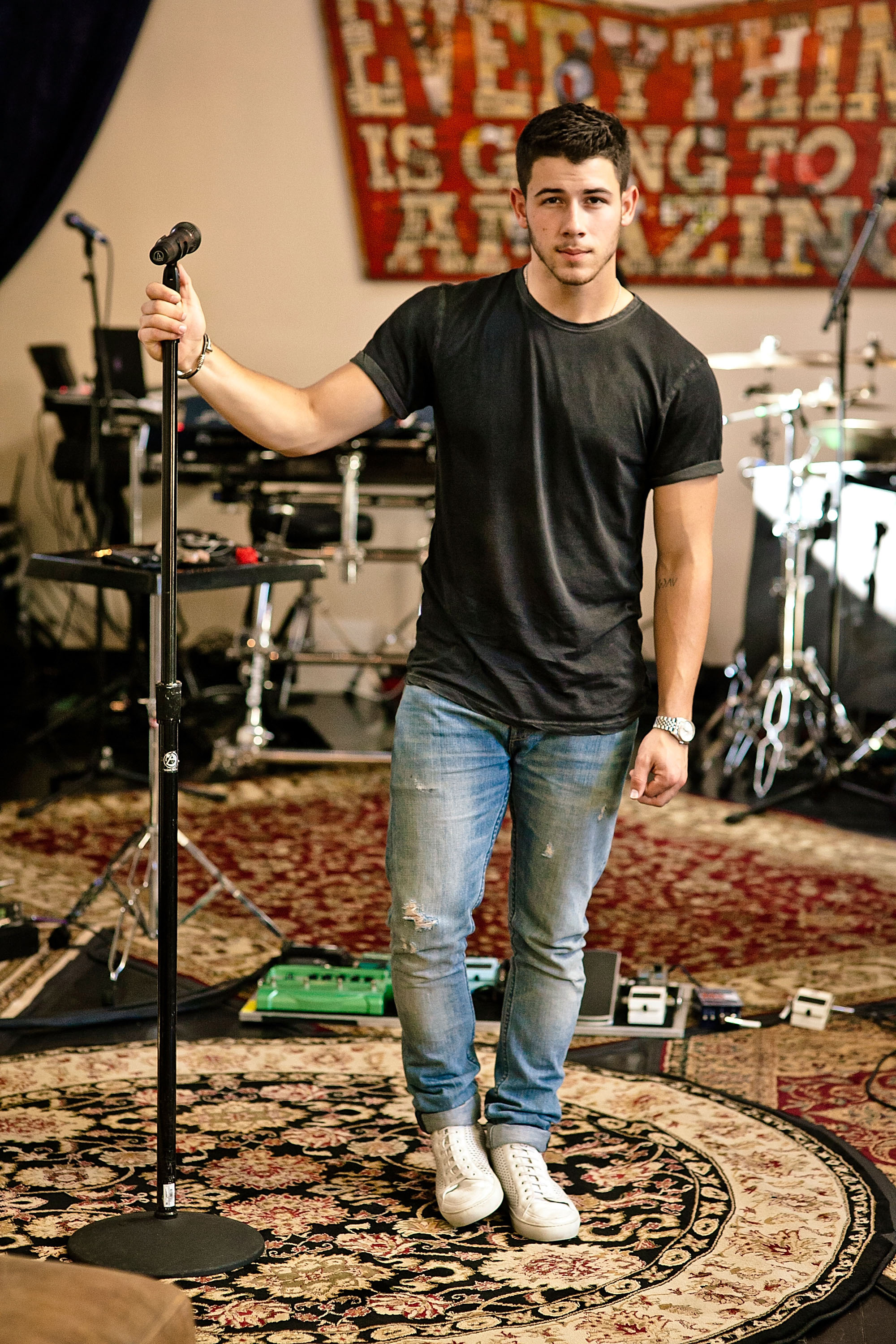 Nick Jonas rehearses in Los Angeles for his new self titled album on August 22, 2014 in West Hollywood, California.