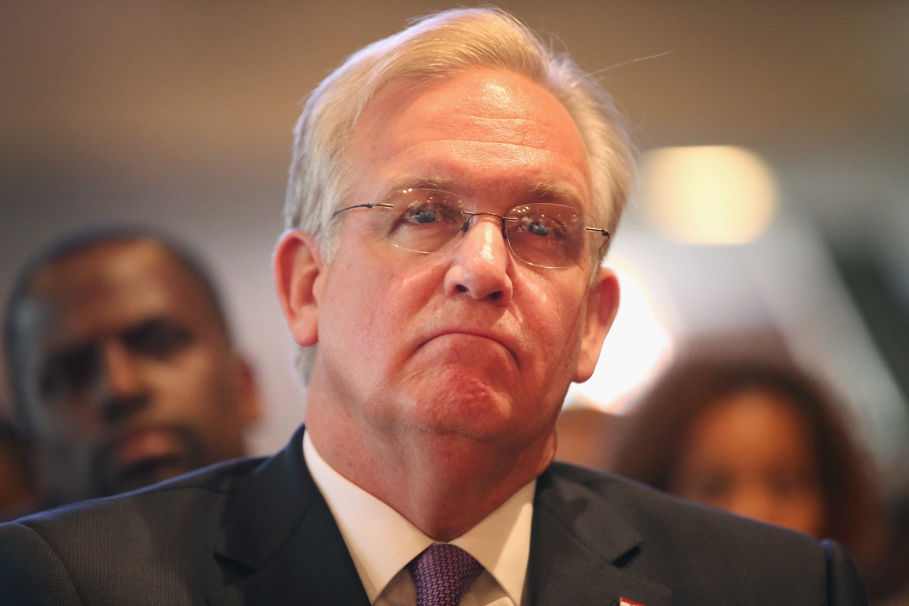 Missouri Governor Jay Nixon listens to residents and community leaders as they discuss unrest in the town of Ferguson following the shooting death of Michael Brown during a forum held at Christ the King UCC Church on August 14, 2014 in Florissant, Mo.