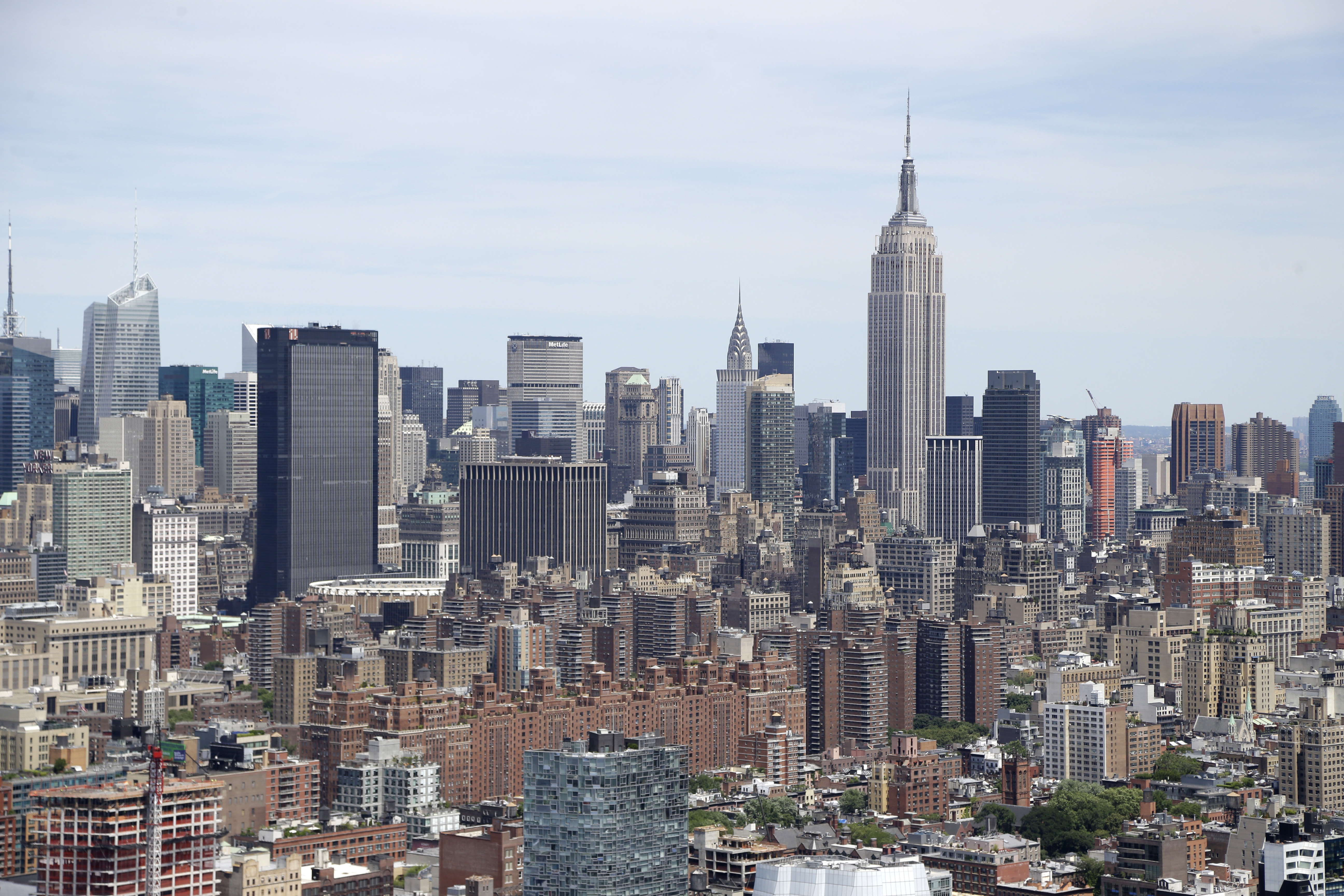 An ariel view of the Manhattan skyline in New York on  June 20, 2014.