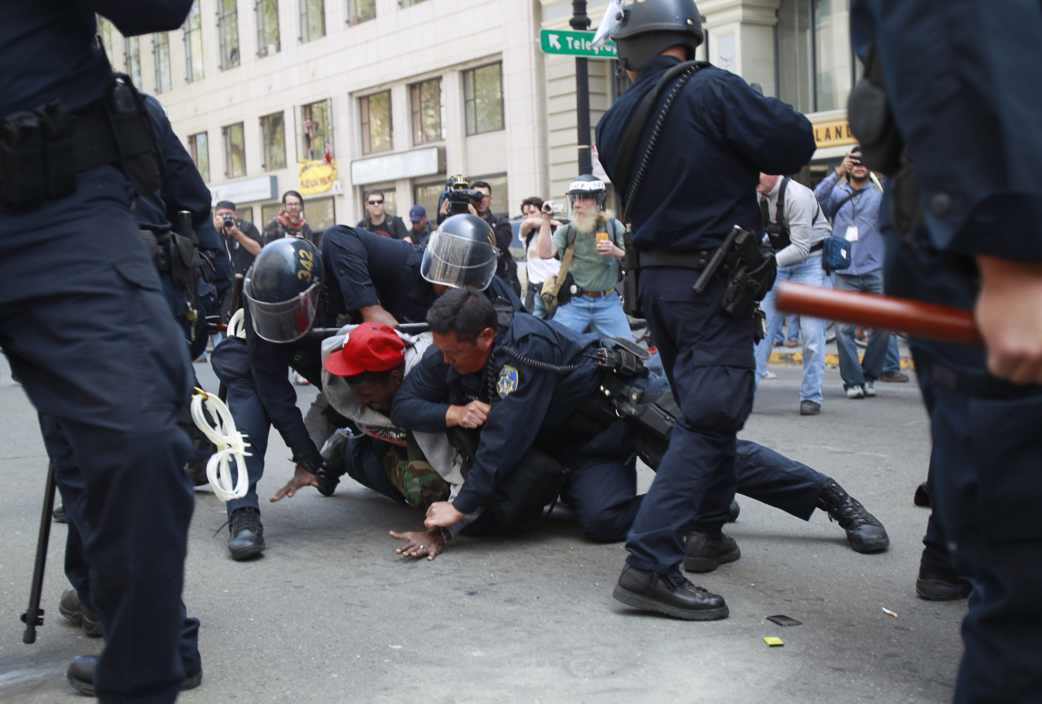 Occupy demonstrators clash with Oakland police during May Day protest in Oakland, California on May 1, 2012.