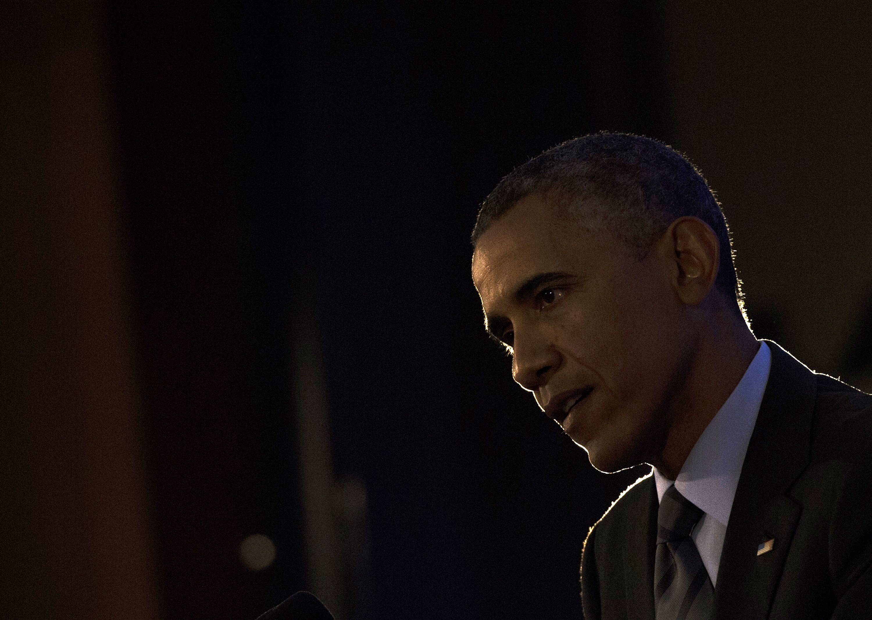 US President Barack Obama speaks during a press conference at the conclusion of the US - Africa Leaders Summit at the US State Department in Washington on August 6, 2014.