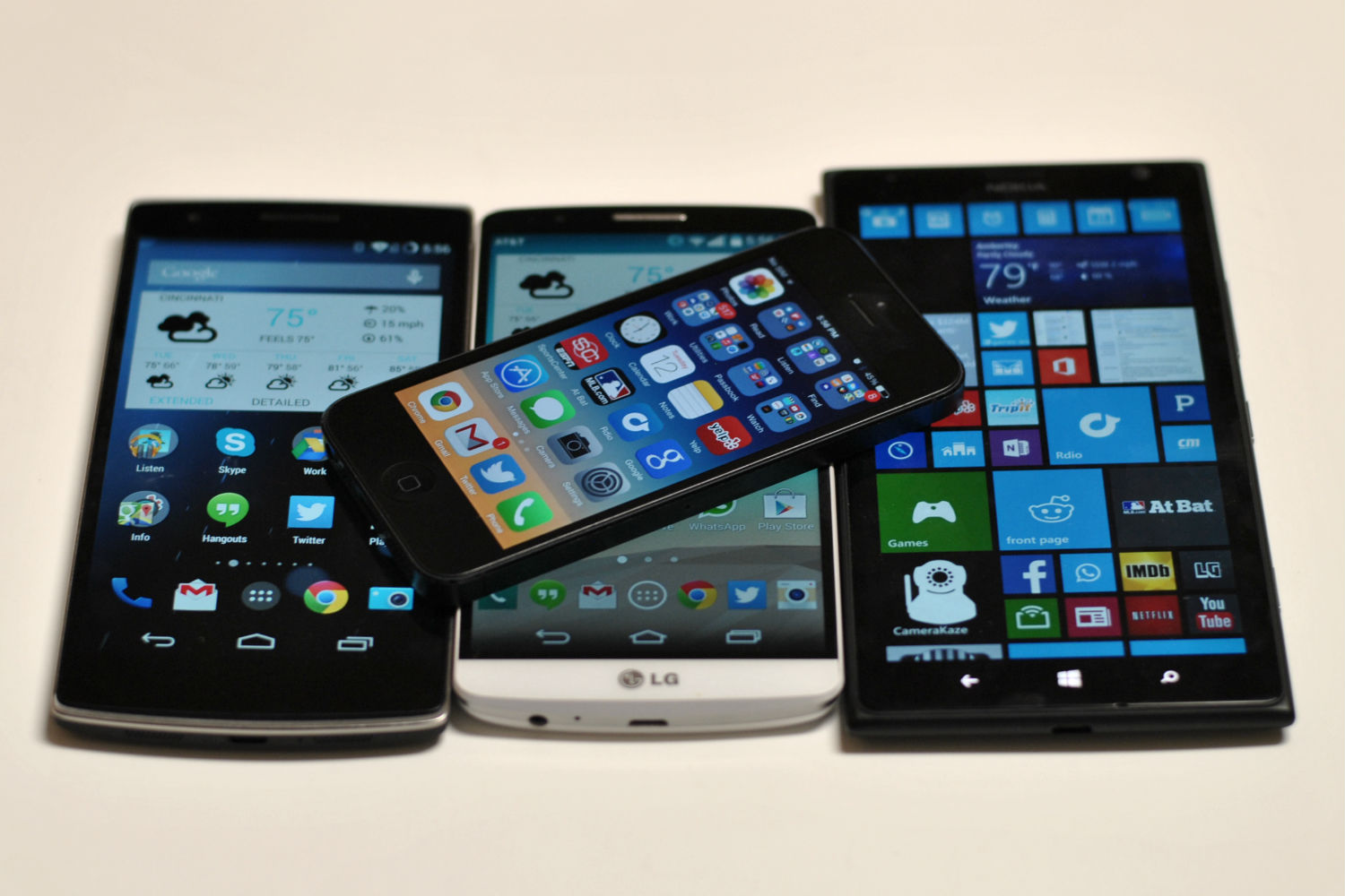 Left to right: OnePlus One, Apple iPhone (above), LG G3, Nokia Lumia 1520