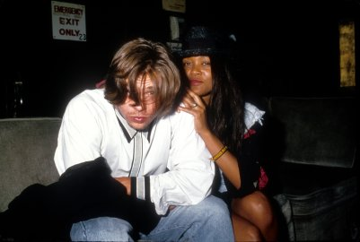 Actors Brad Pitt and Robin Givens pose for a portrait circa 1989 in Los Angeles, California.