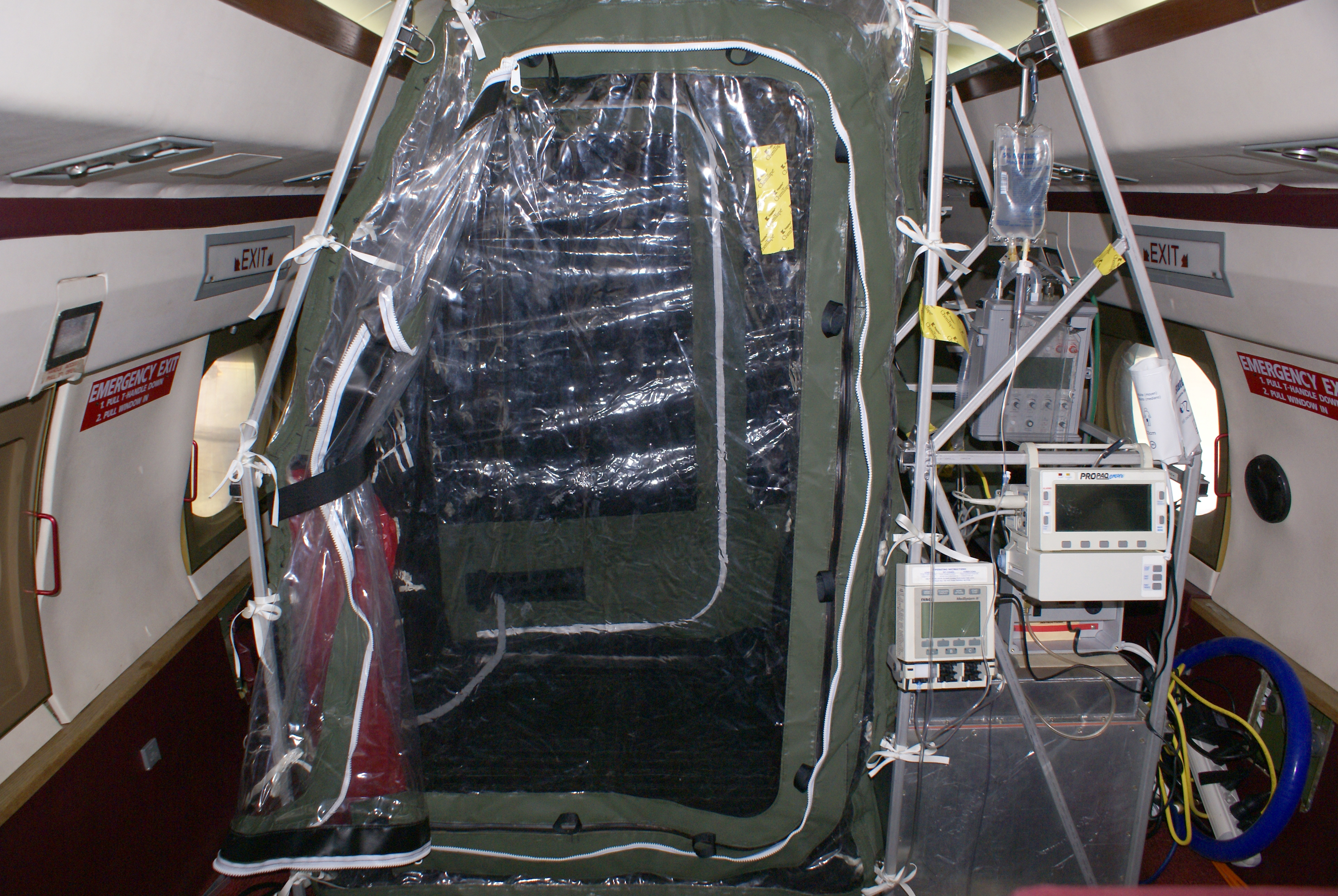 The Aeromedical Biological Containment System (ABCS), which houses the patients on their flight